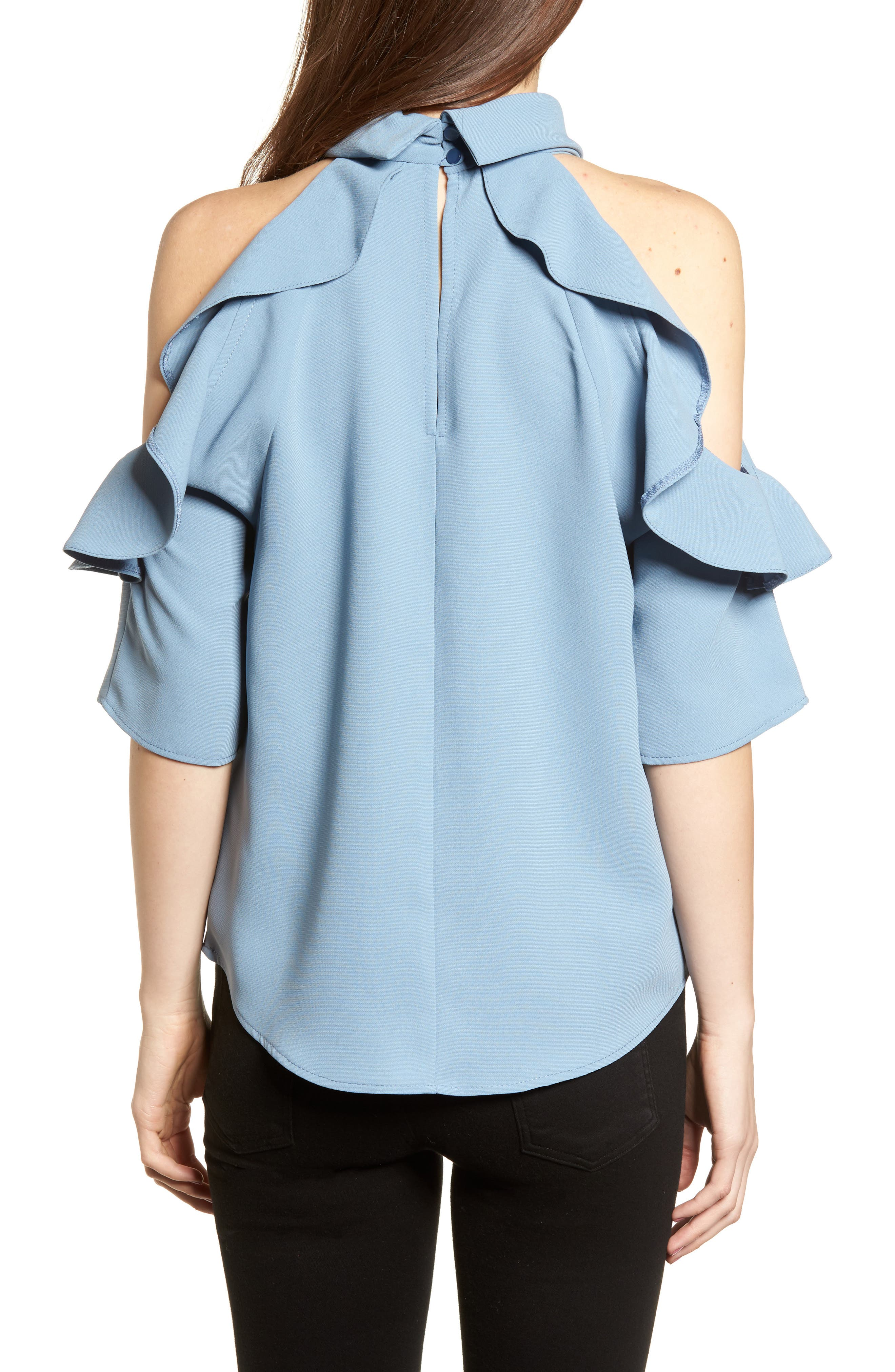 Ruffle Cold Shoulder Top,                             Alternate thumbnail 10, color,