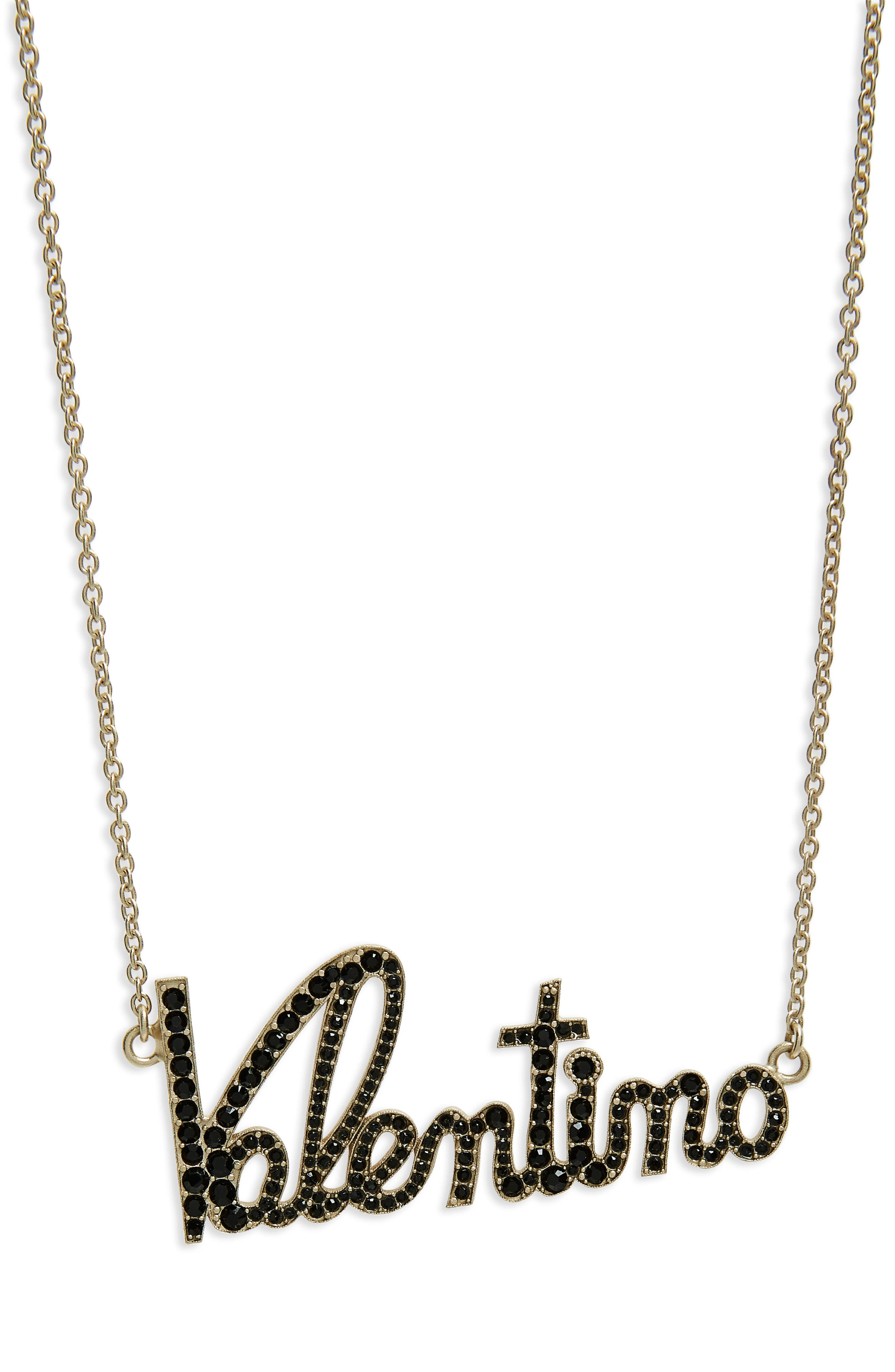 Crystal Logo Statement Necklace,                         Main,                         color, PLAINO MAT/ BLACK