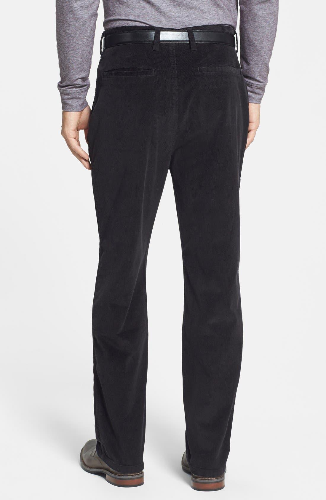 'Walker' Flat Front Straight Leg Corduroy Pants,                             Alternate thumbnail 3, color,                             001