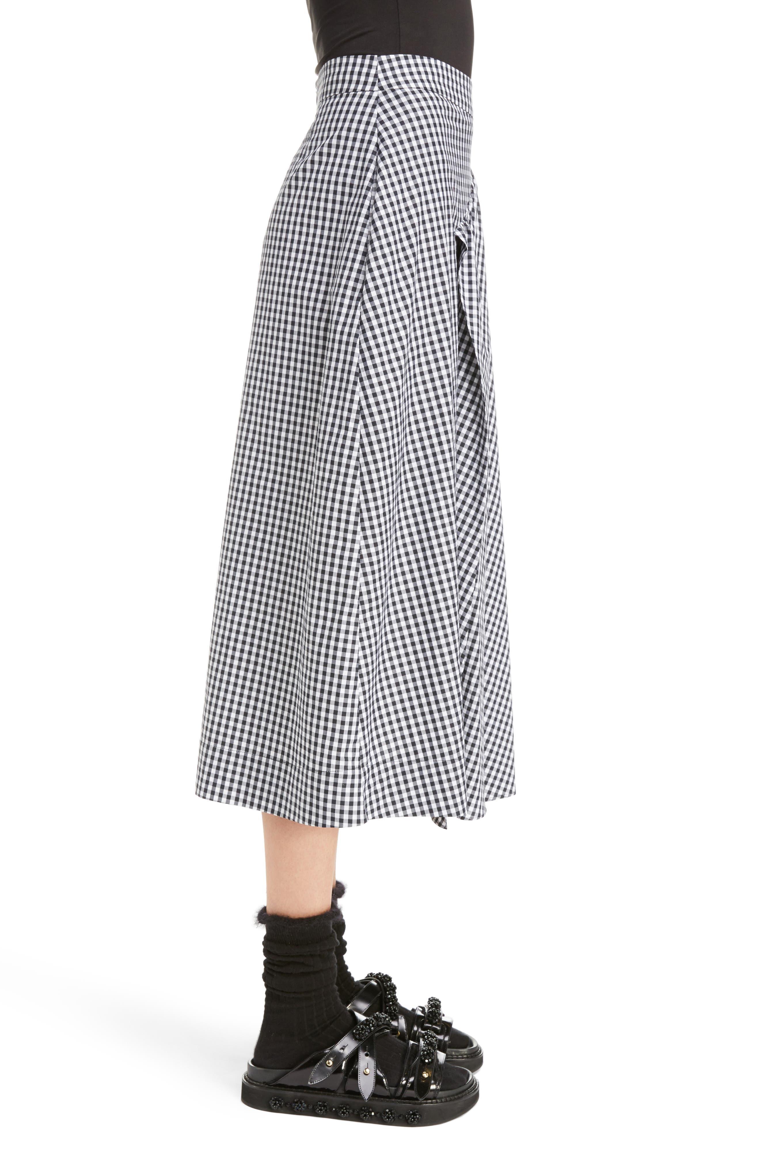 Three-Panel Gingham Midi Skirt,                             Alternate thumbnail 3, color,                             100