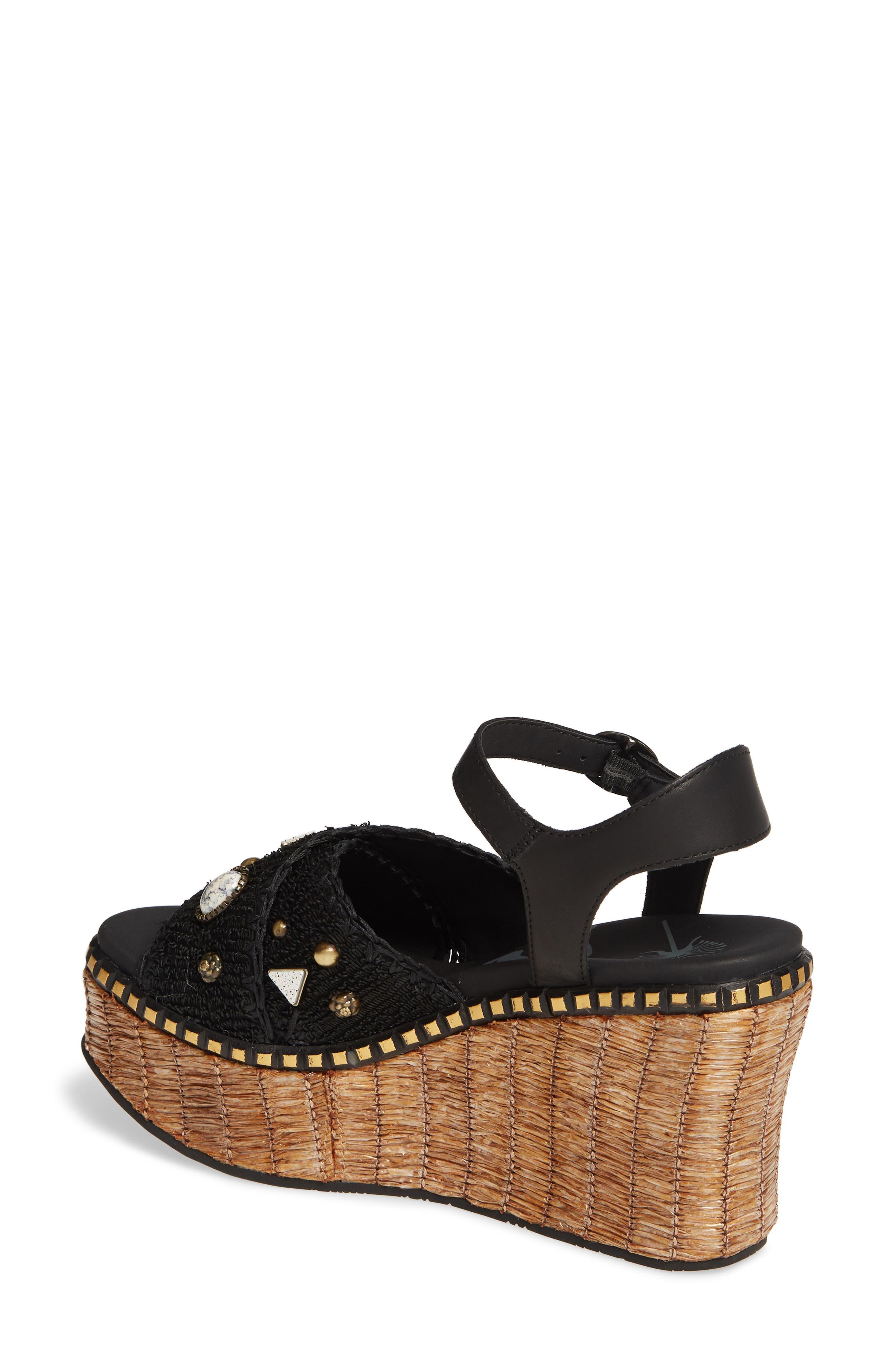Cahoot Embellished Platform Wedge Sandal,                             Alternate thumbnail 2, color,                             BLACK LEATHER