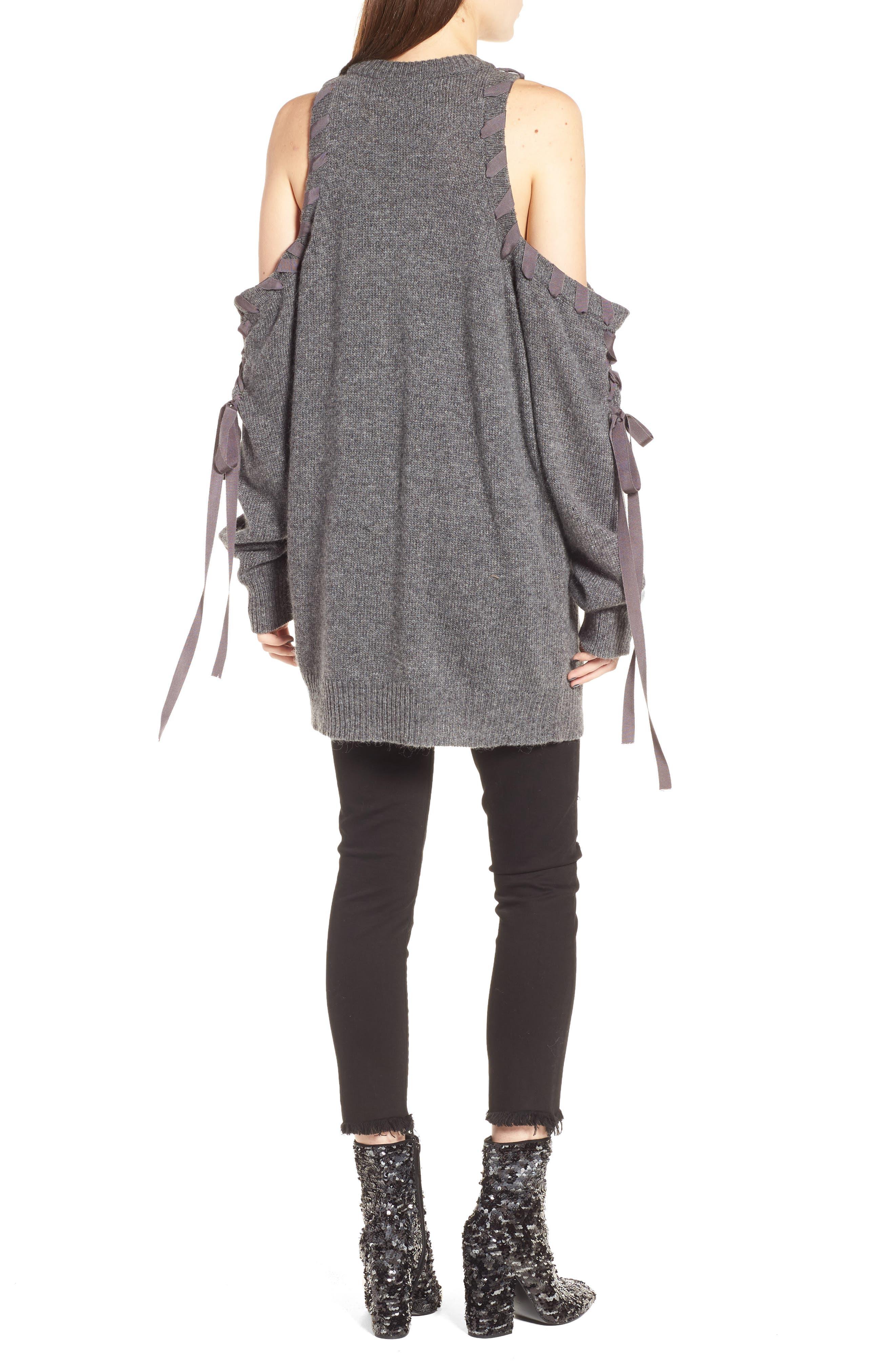 Lace-Up Cold Shoulder Minidress,                             Alternate thumbnail 2, color,                             030