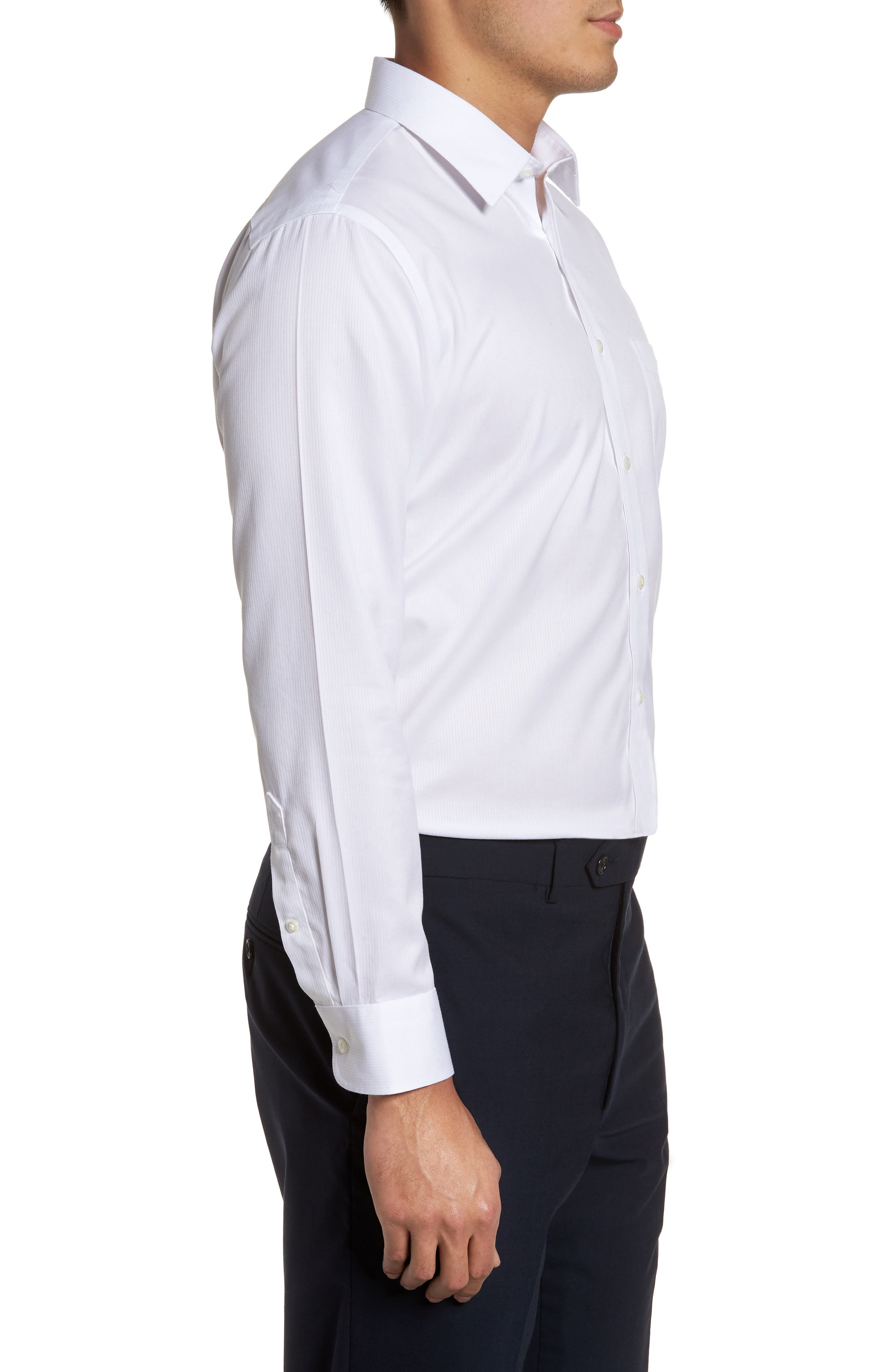 Smartcare<sup>™</sup> Trim Fit Dress Shirt,                             Alternate thumbnail 4, color,                             WHITE