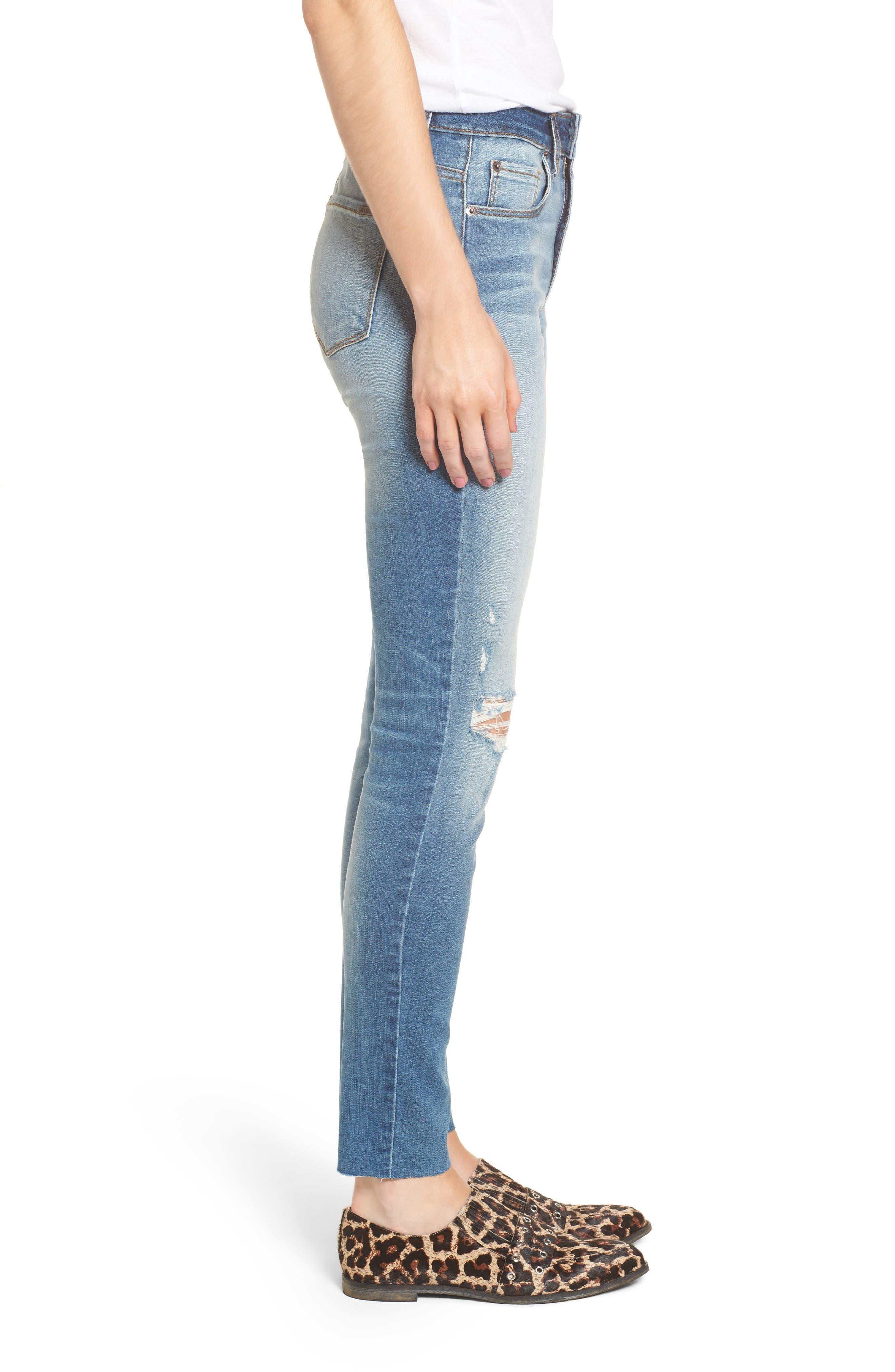 Ellie Ripped High Waist Skinny Jeans,                             Alternate thumbnail 3, color,                             400