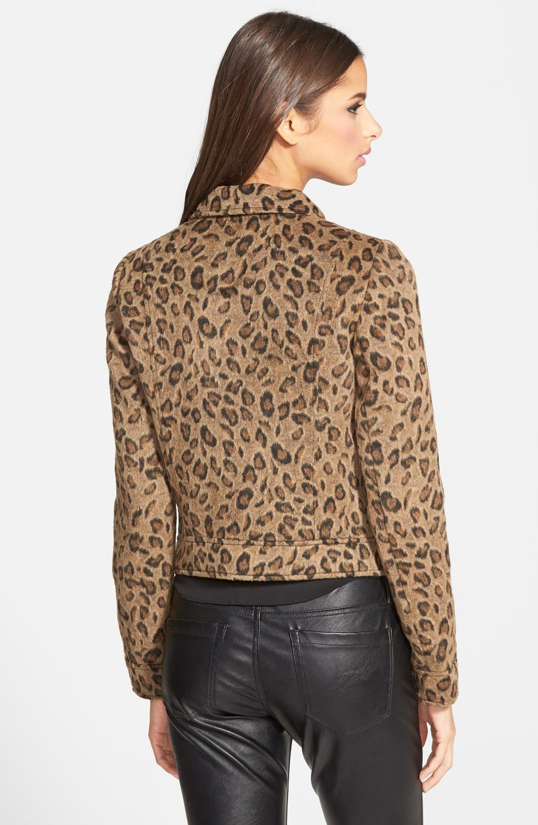 Leopard Print Moto Jacket,                             Alternate thumbnail 3, color,                             235