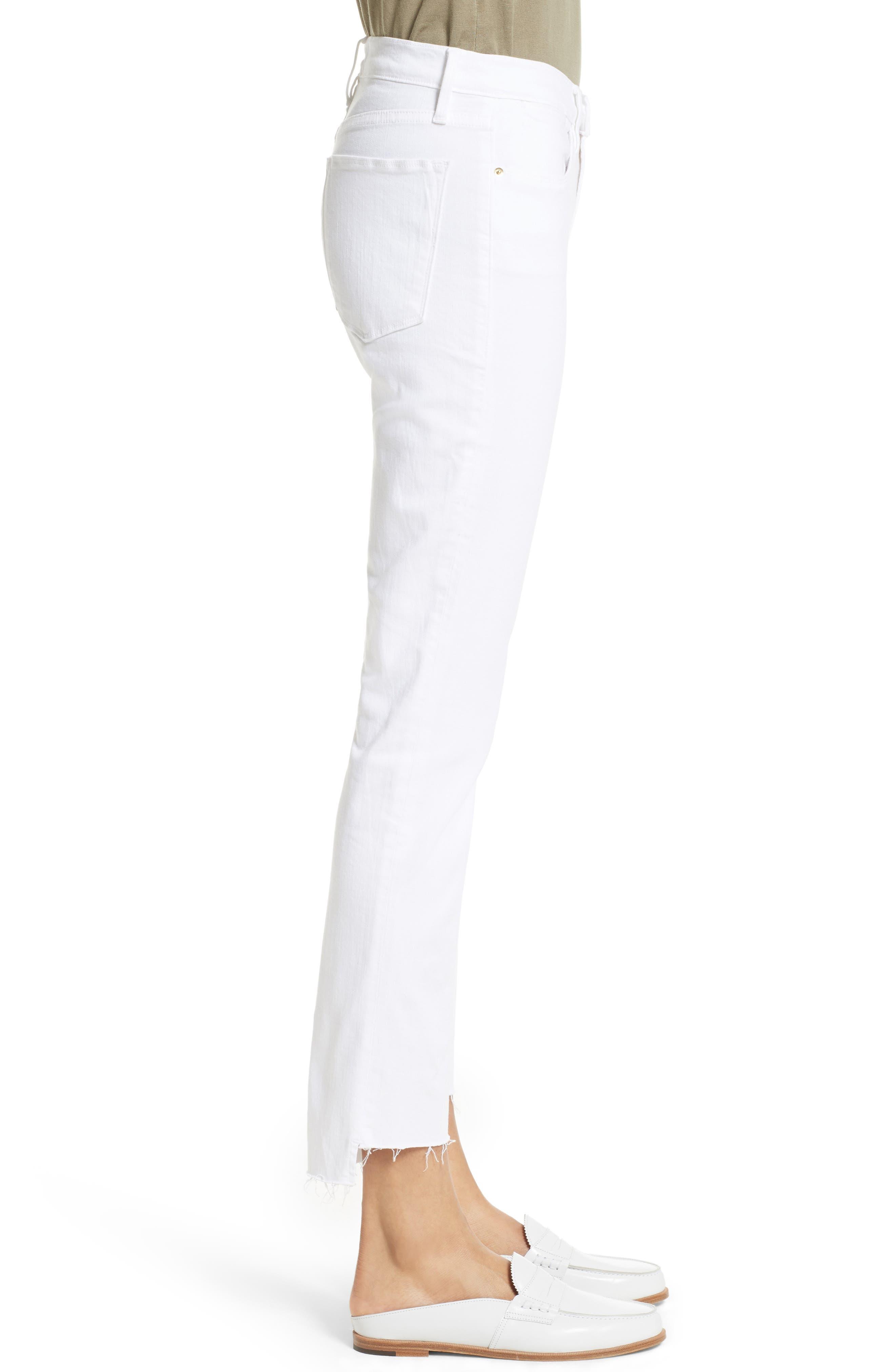 Le High Straight High Waist Staggered Hem Jeans,                             Alternate thumbnail 7, color,