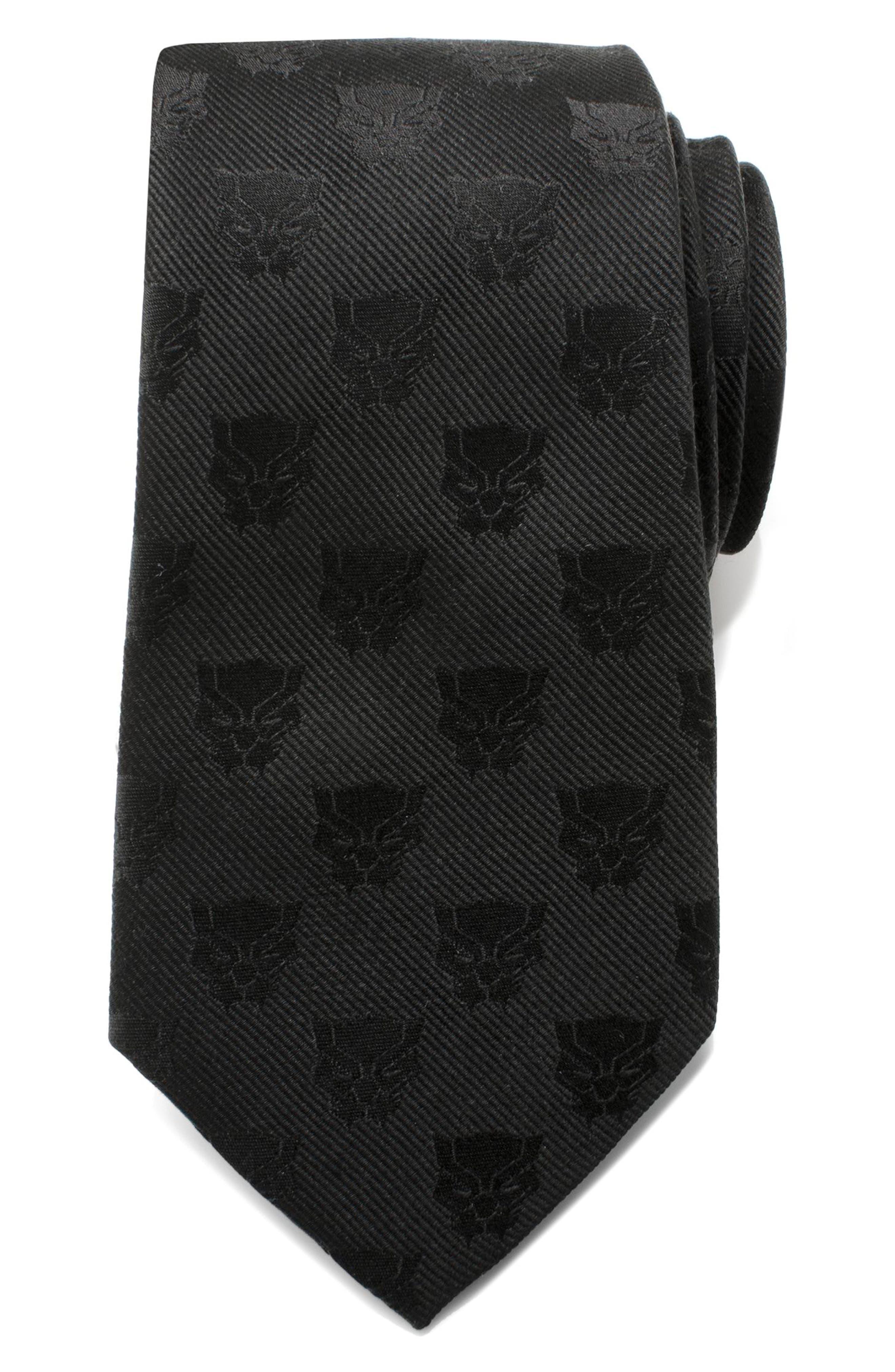 Black Panther Silk Tie,                             Main thumbnail 1, color,                             BLACK