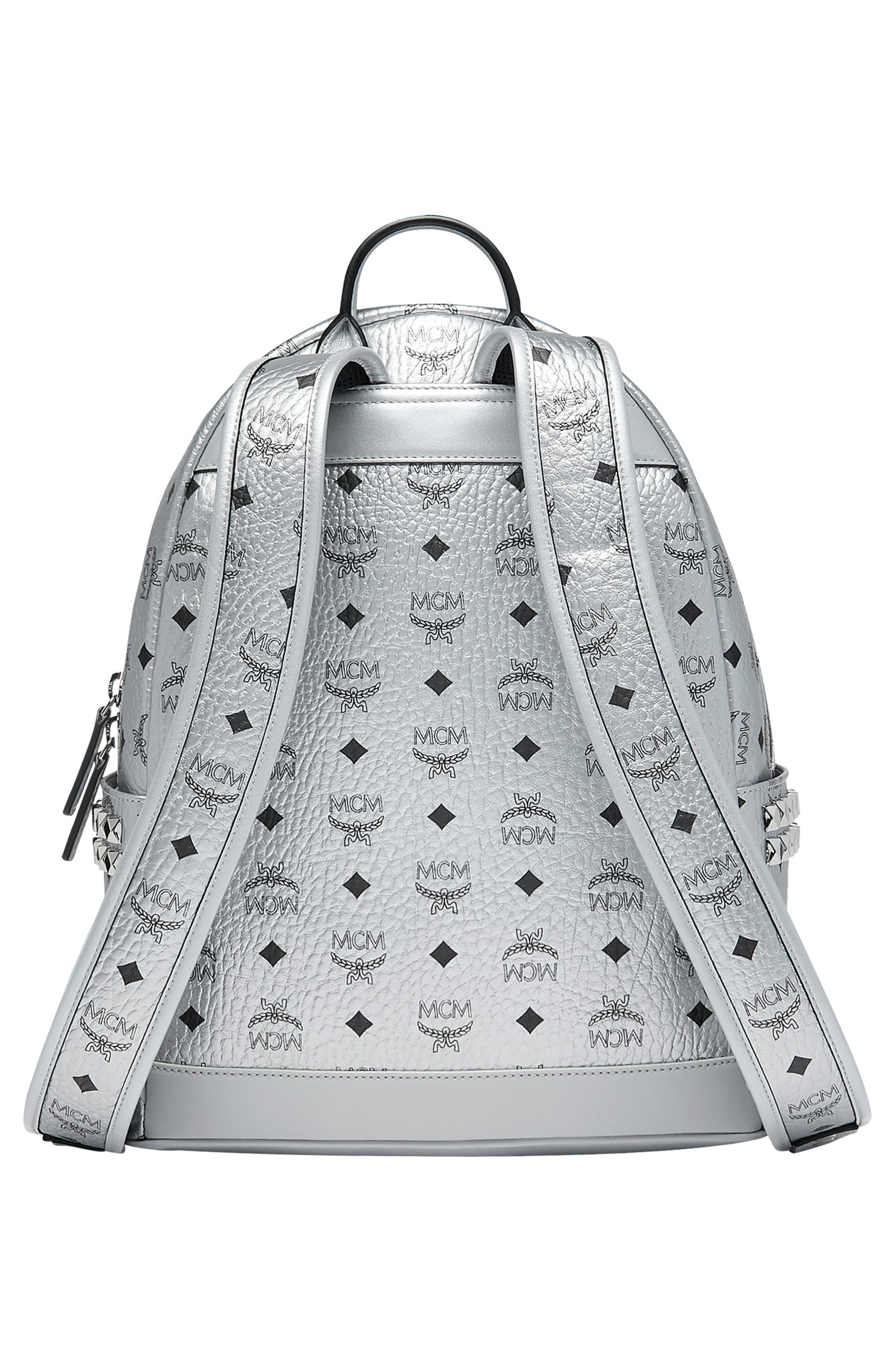 Small Stark Side Stud Metallic Faux Leather Backpack,                             Alternate thumbnail 2, color,                             BERLIN SILVER