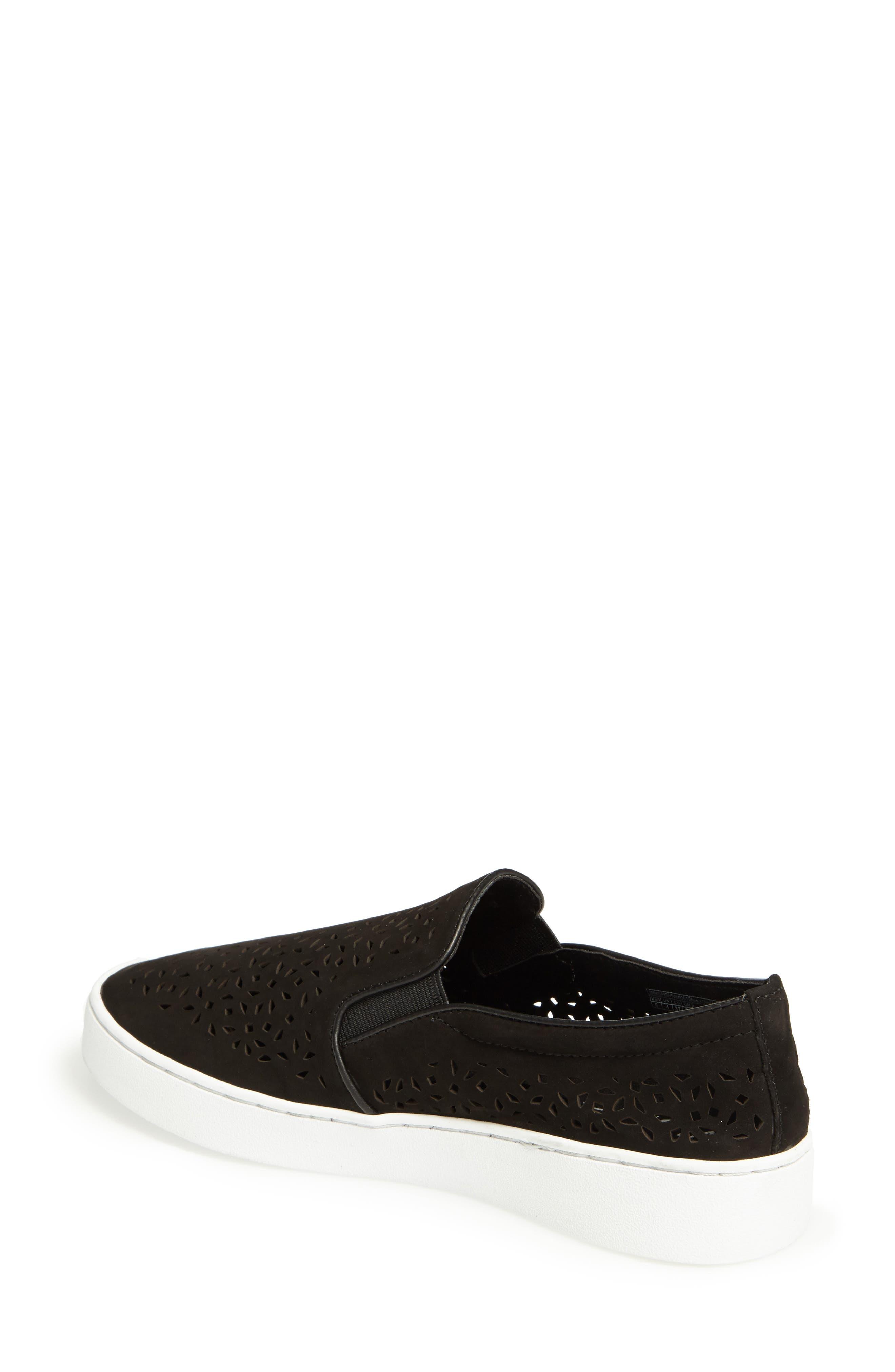 Perforated Slip-On Sneaker,                             Alternate thumbnail 2, color,                             BLACK