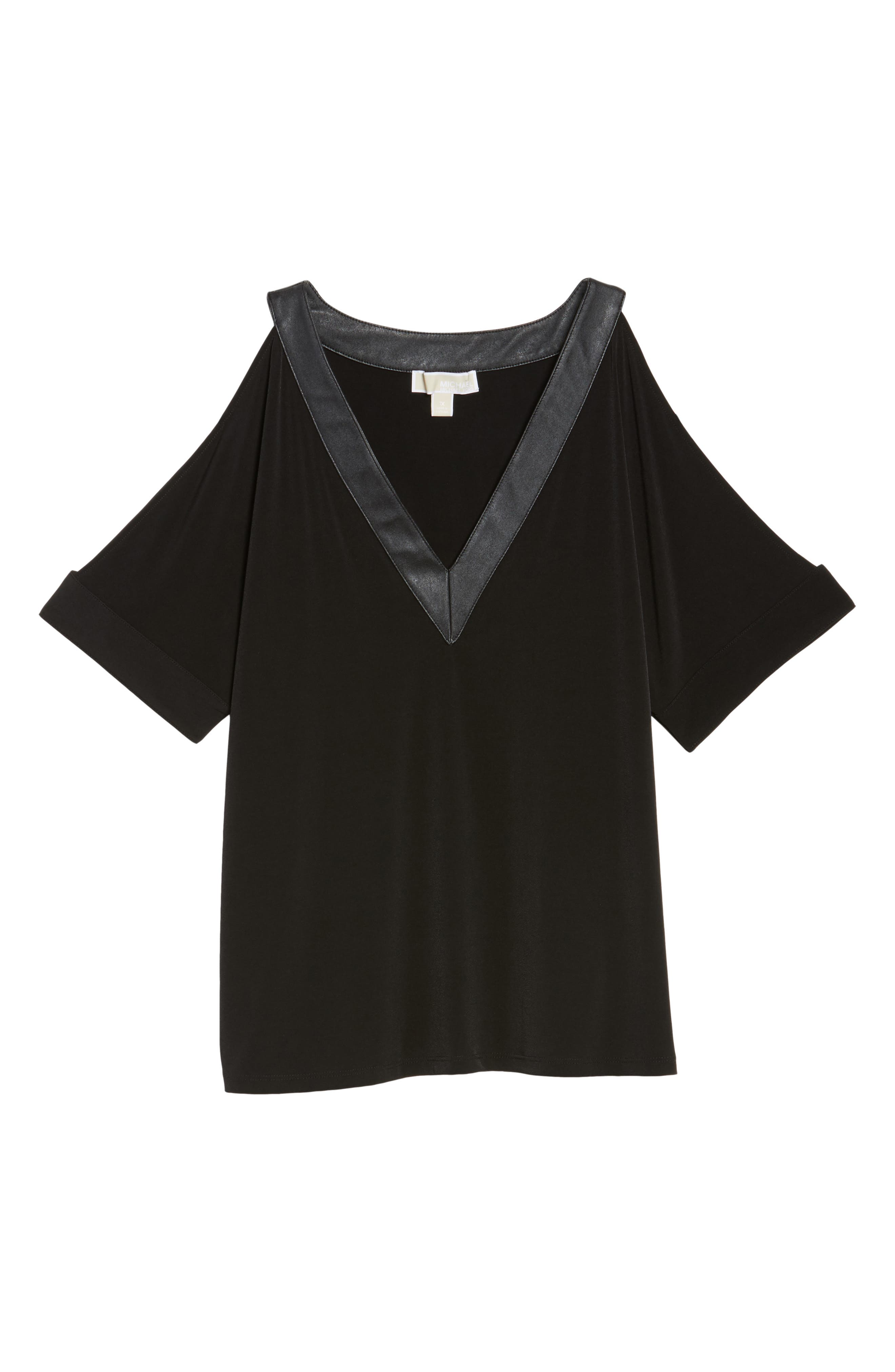 Cold Shoulder Crepe Top with Faux Leather Trim,                             Alternate thumbnail 6, color,