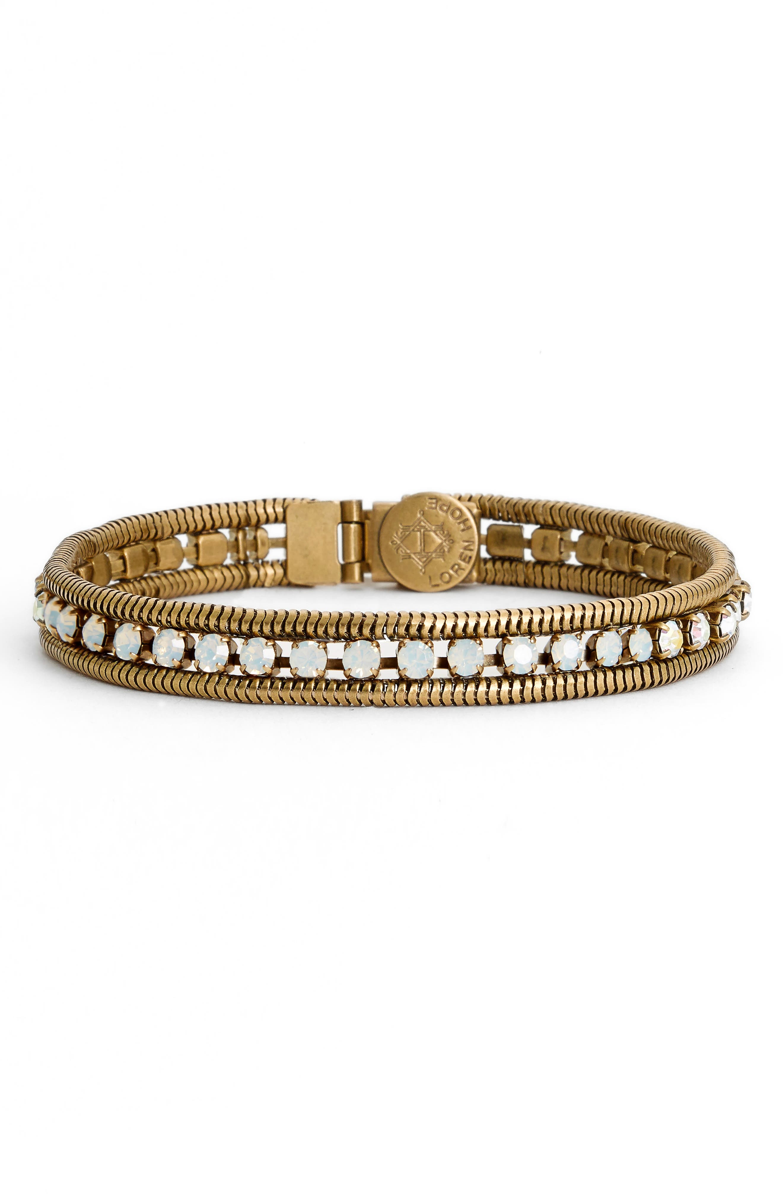 'Clara' Crystal Bracelet,                             Main thumbnail 1, color,                             WHITE OPAL