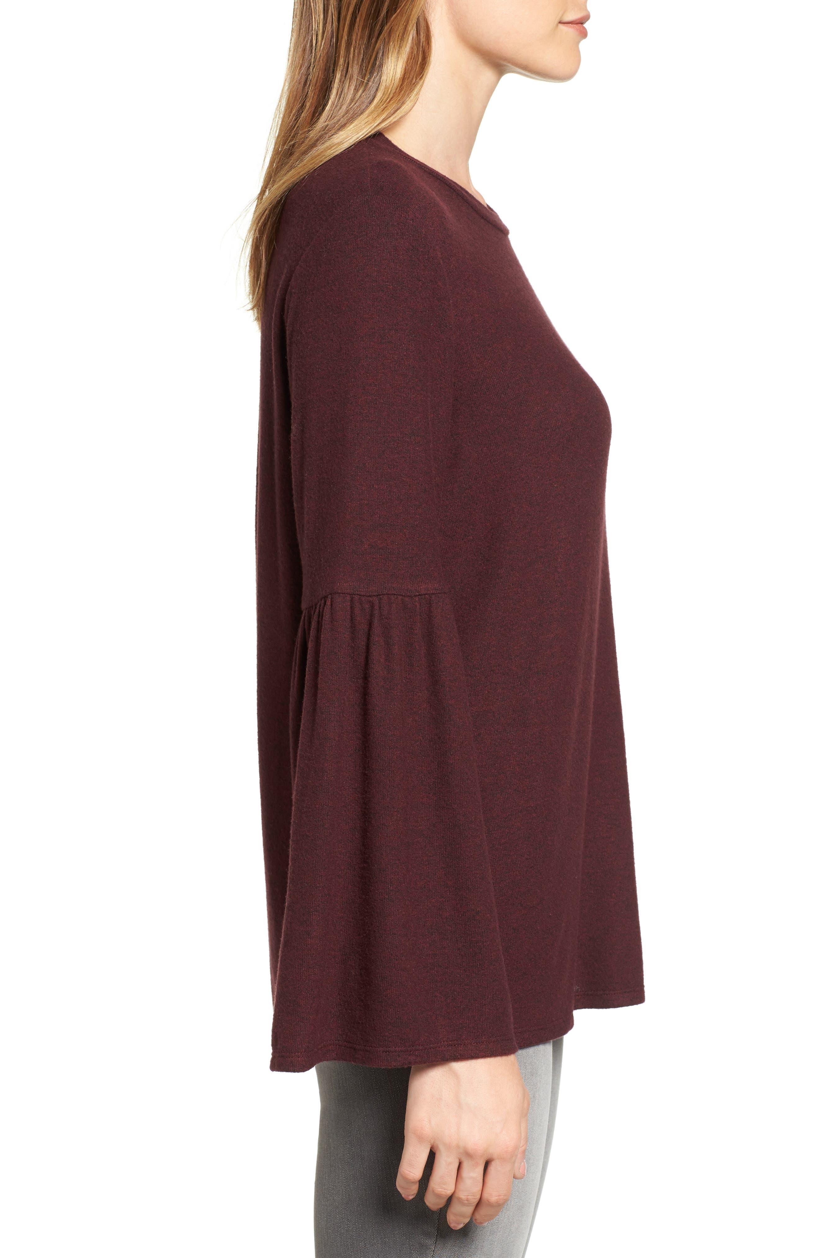 Bell Sleeve Cozy Fleece Pullover,                             Alternate thumbnail 36, color,