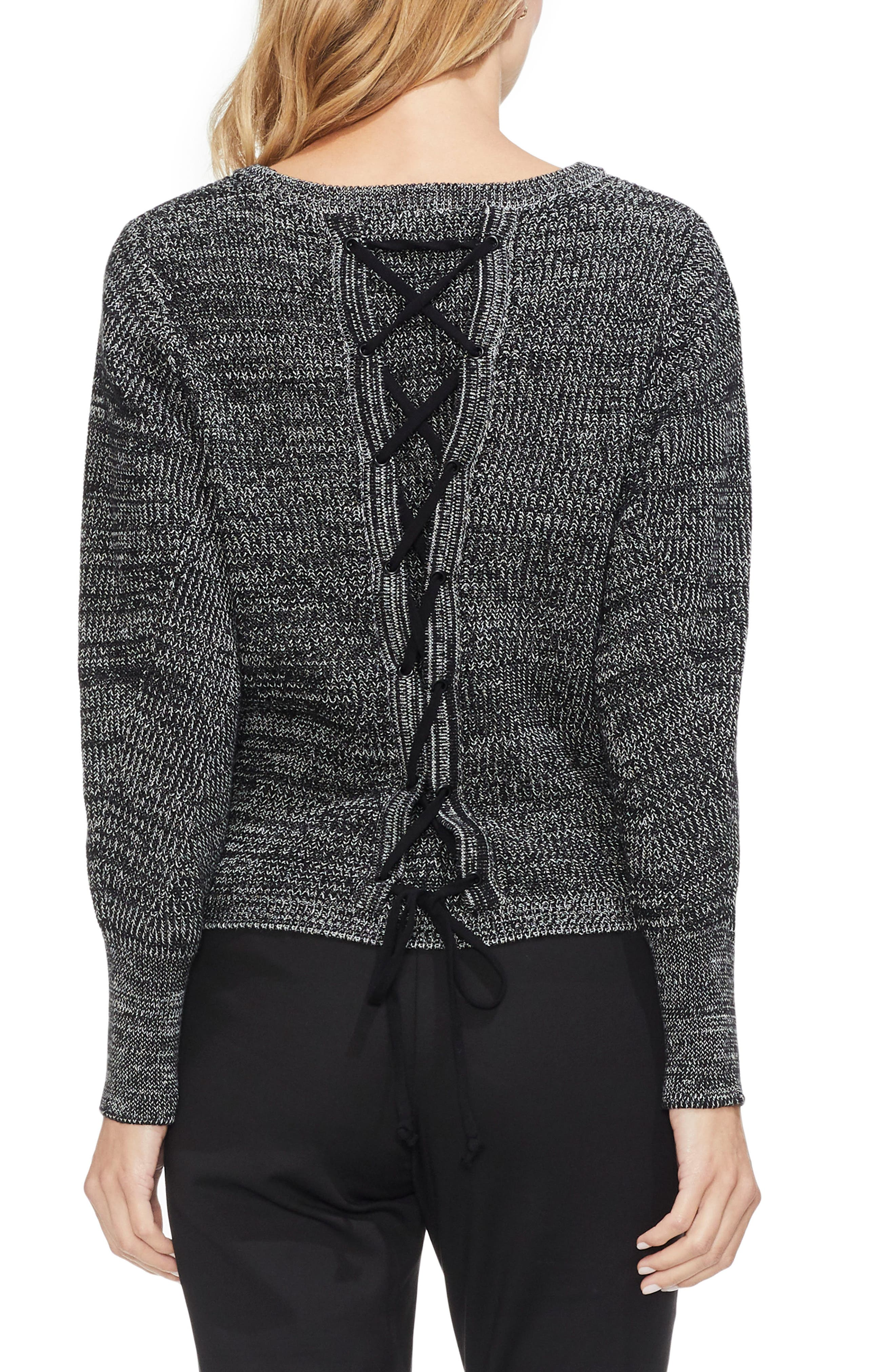 Lace-Up Back Sweater,                             Alternate thumbnail 2, color,                             BLACK MARLE