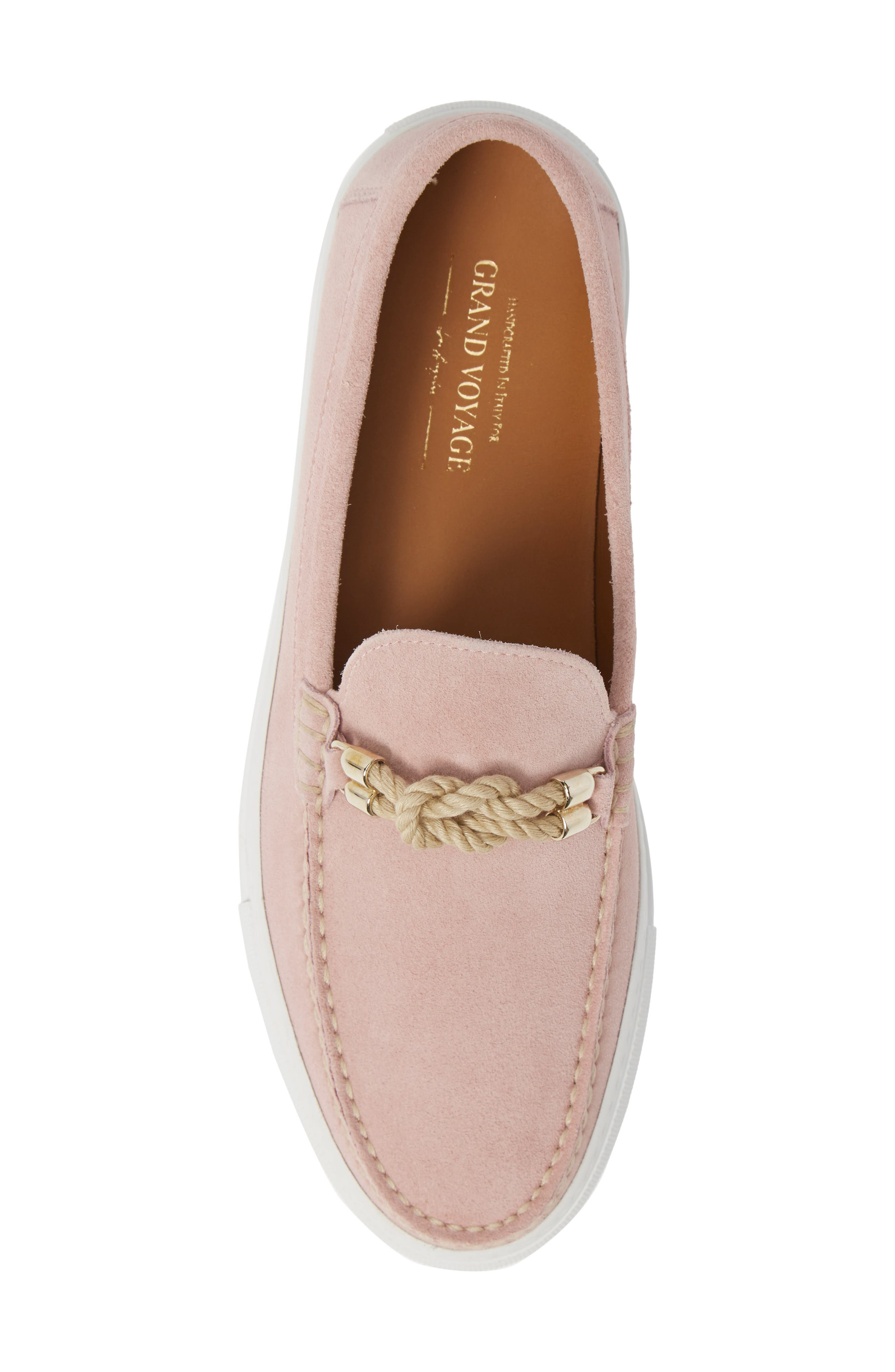 Britton Square Knot Loafer,                             Alternate thumbnail 5, color,                             ROSE SUEDE