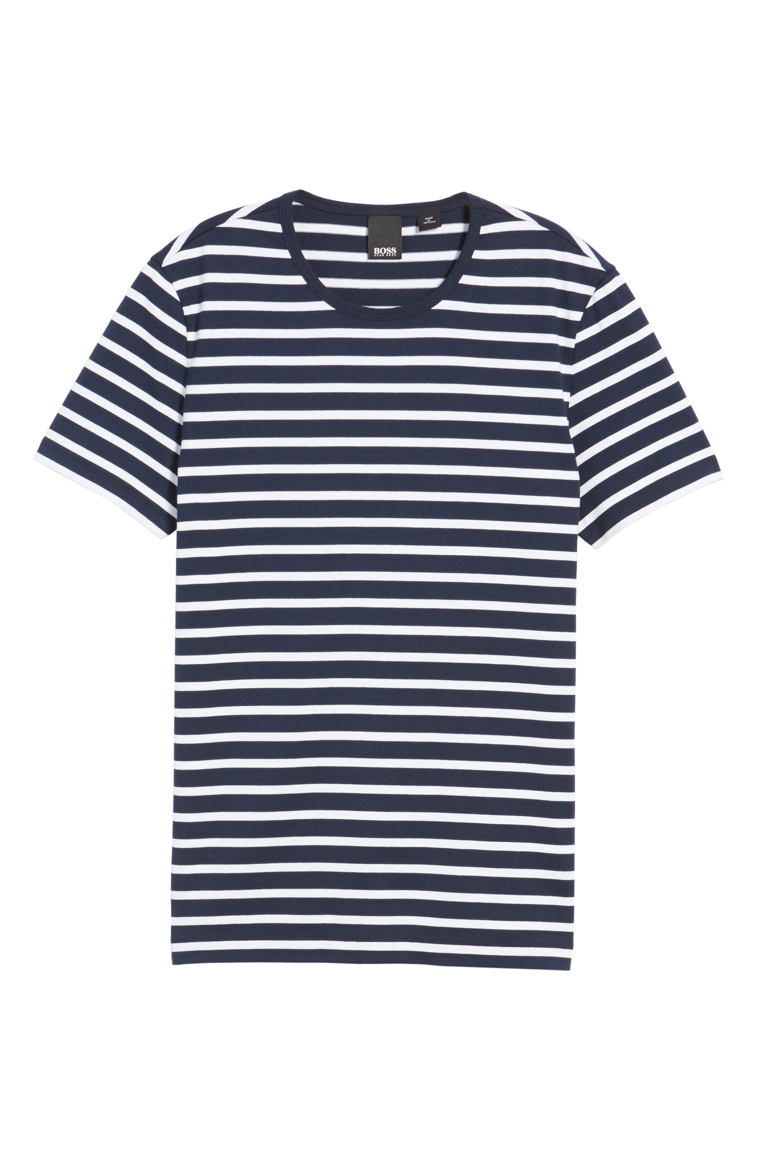 Tessler Stripe Crewneck T-Shirt,                             Alternate thumbnail 6, color,                             410