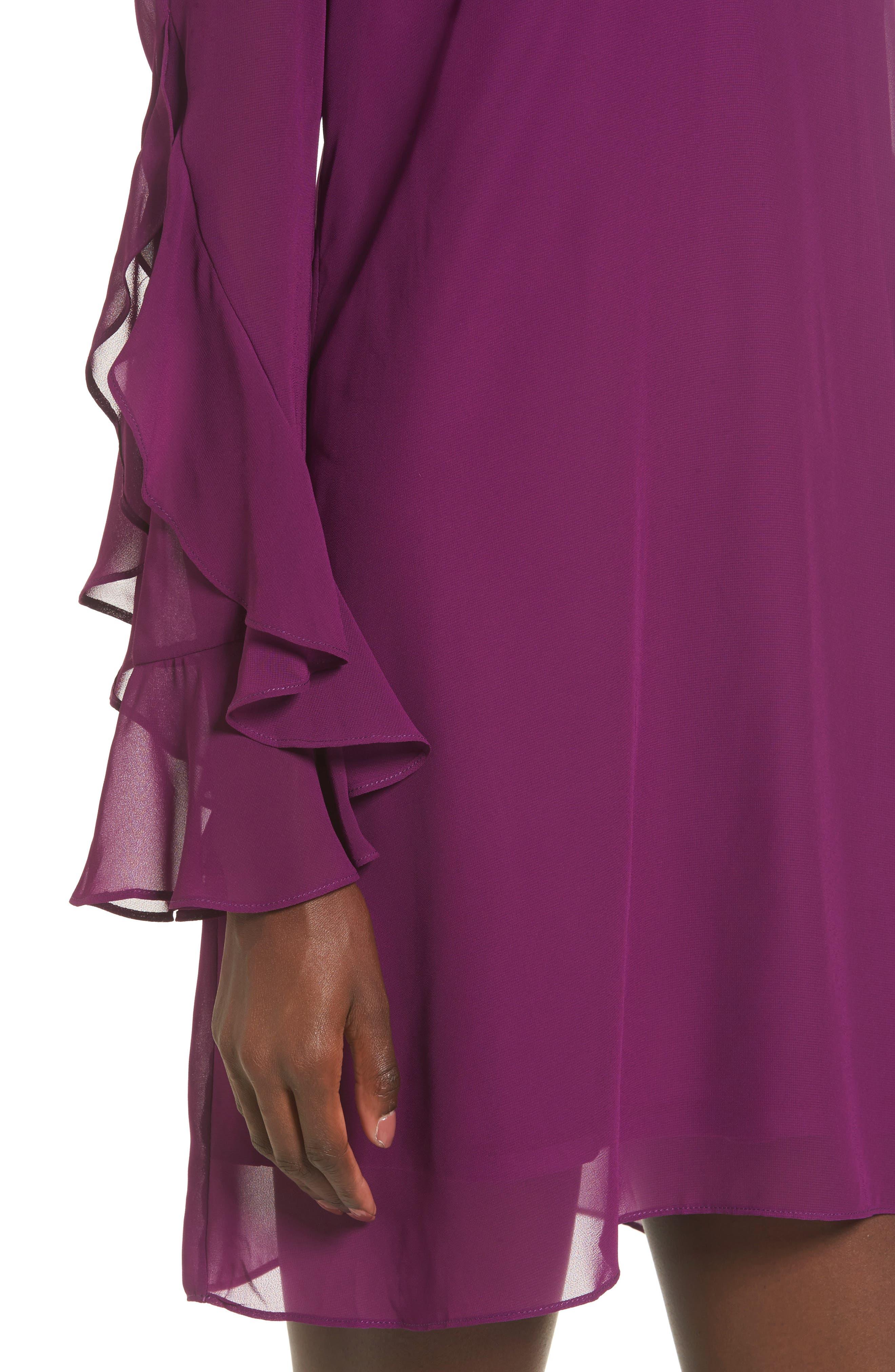 Ruffle Sleeve Shift Dress,                             Alternate thumbnail 16, color,
