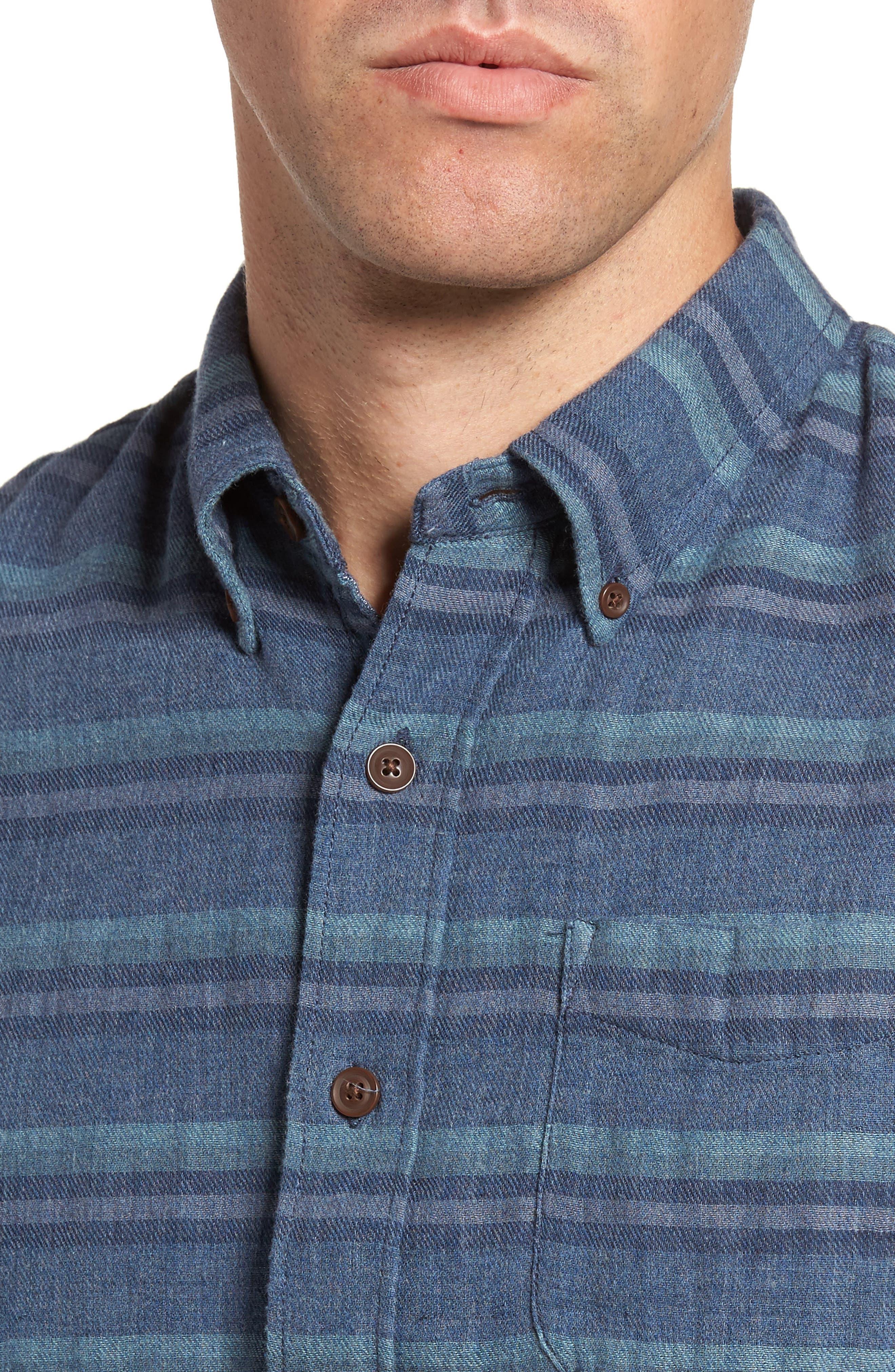 Harcourt Modern Fit Double Cloth Striped Sport Shirt,                             Alternate thumbnail 4, color,                             462