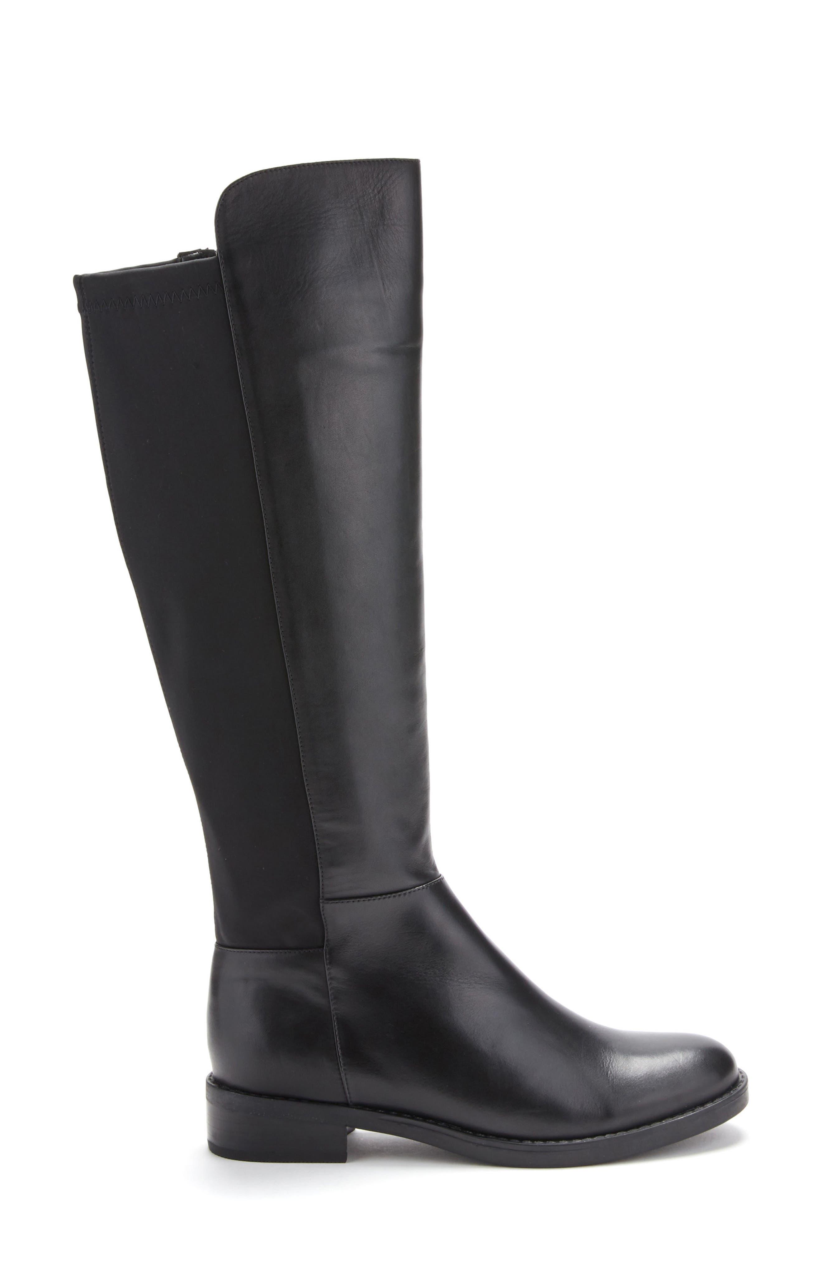 Ellie Waterproof Knee High Riding Boot,                             Alternate thumbnail 3, color,                             BLACK LEATHER