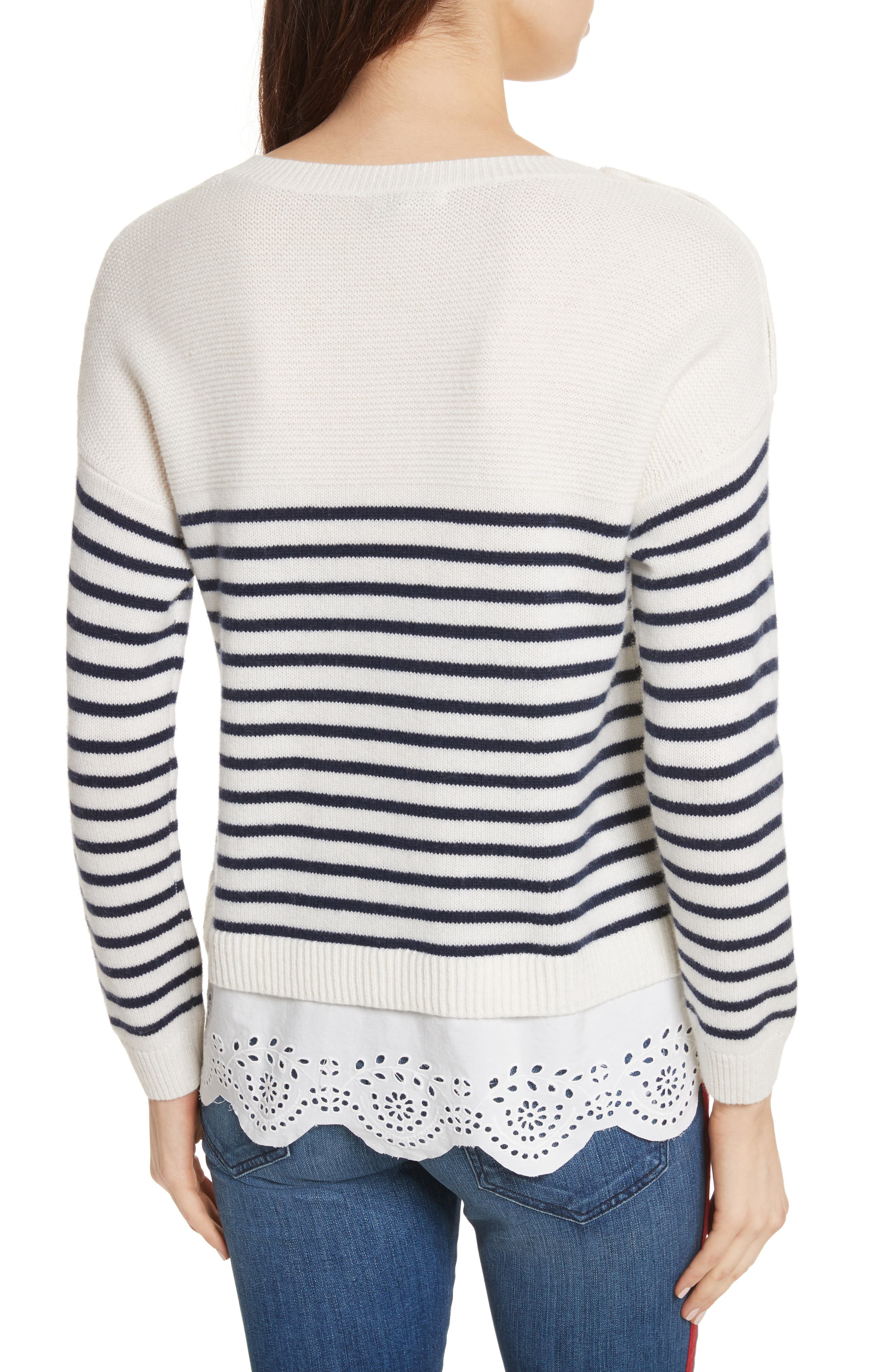 Aefre Woven Trim Wool & Cashmere Sweater,                             Alternate thumbnail 2, color,                             029