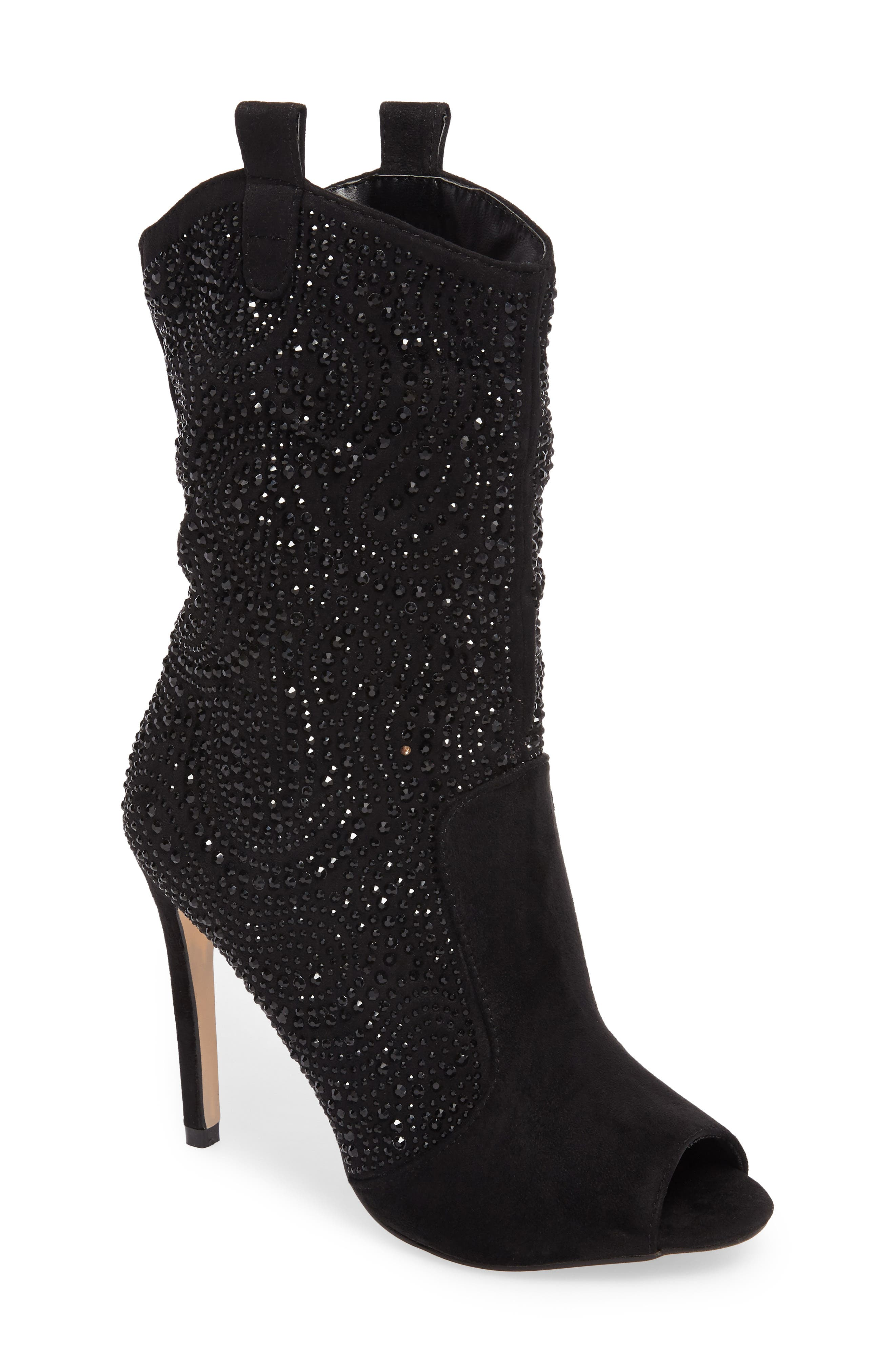 Layla Embellished Boot,                             Main thumbnail 1, color,                             BLACK
