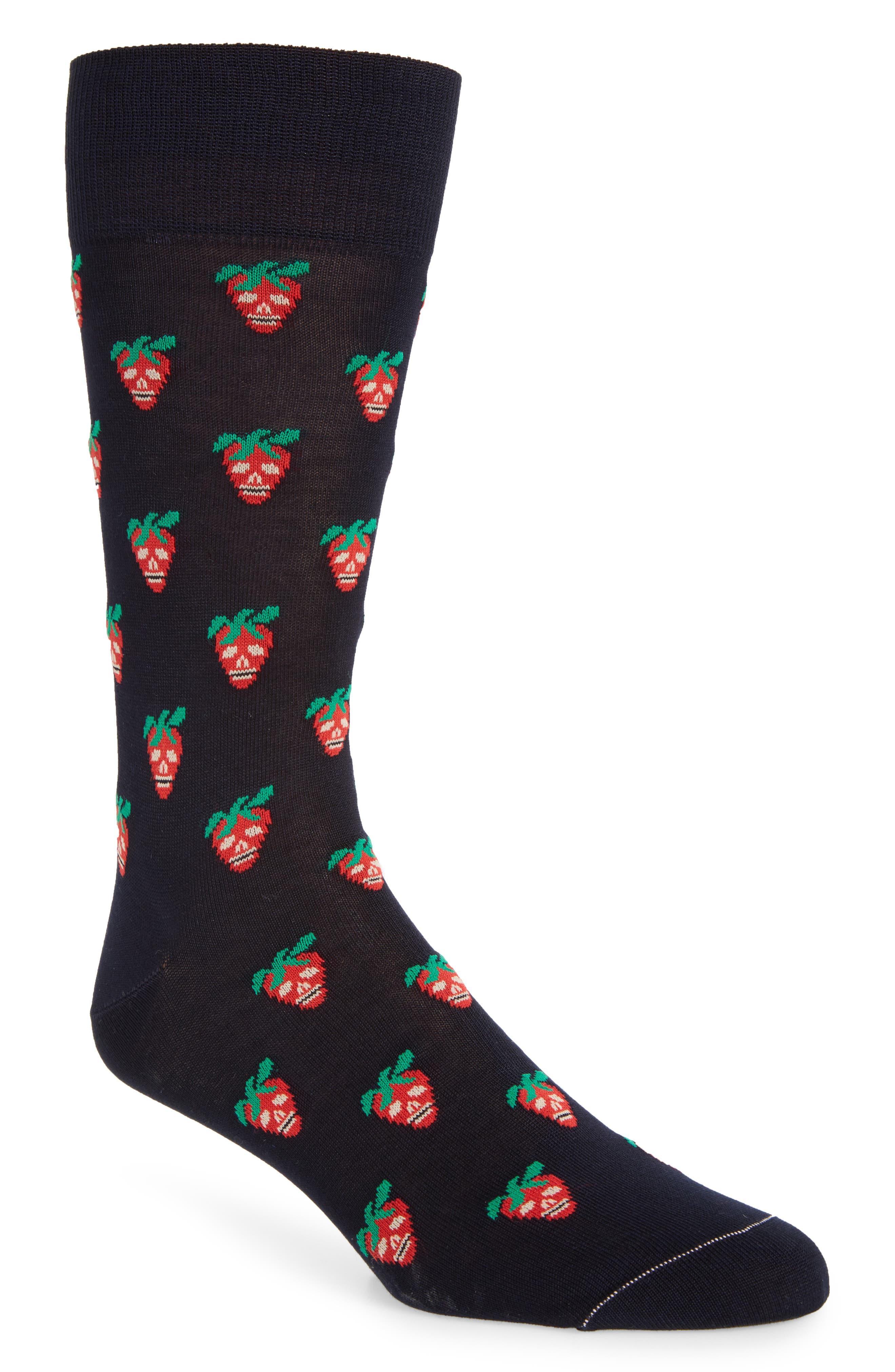 Mini Strawberry Crew Socks,                         Main,                         color, 411