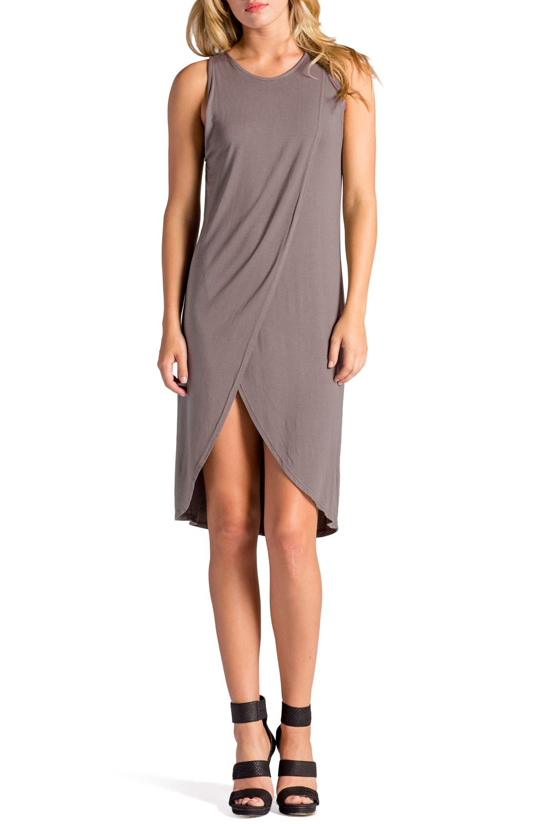 Elba Asymmetrical Hem Sleeveless Jersey Dress,                             Main thumbnail 3, color,