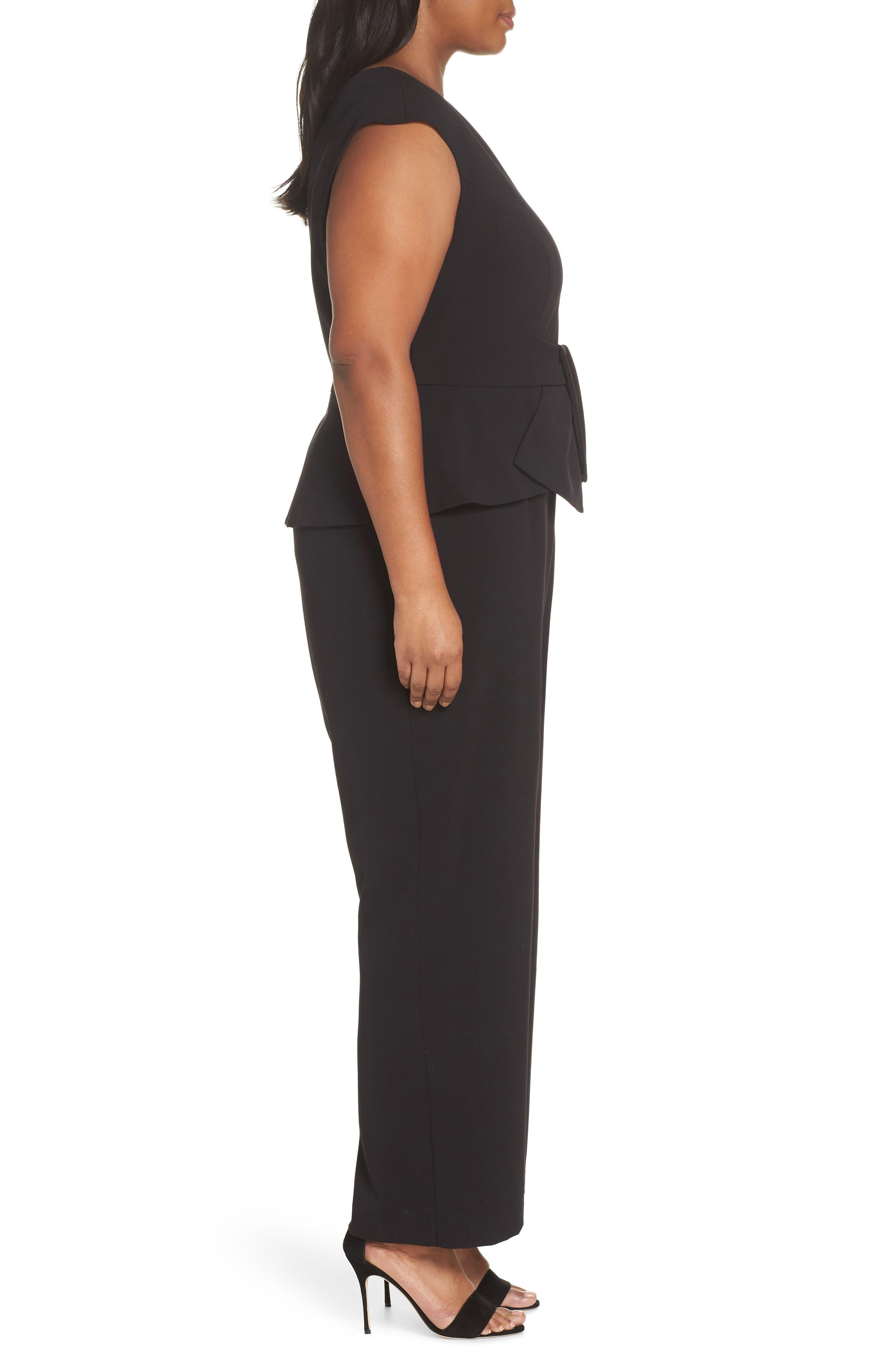 Stretch Peplum Waist Jumpsuit,                             Alternate thumbnail 3, color,                             BLACK