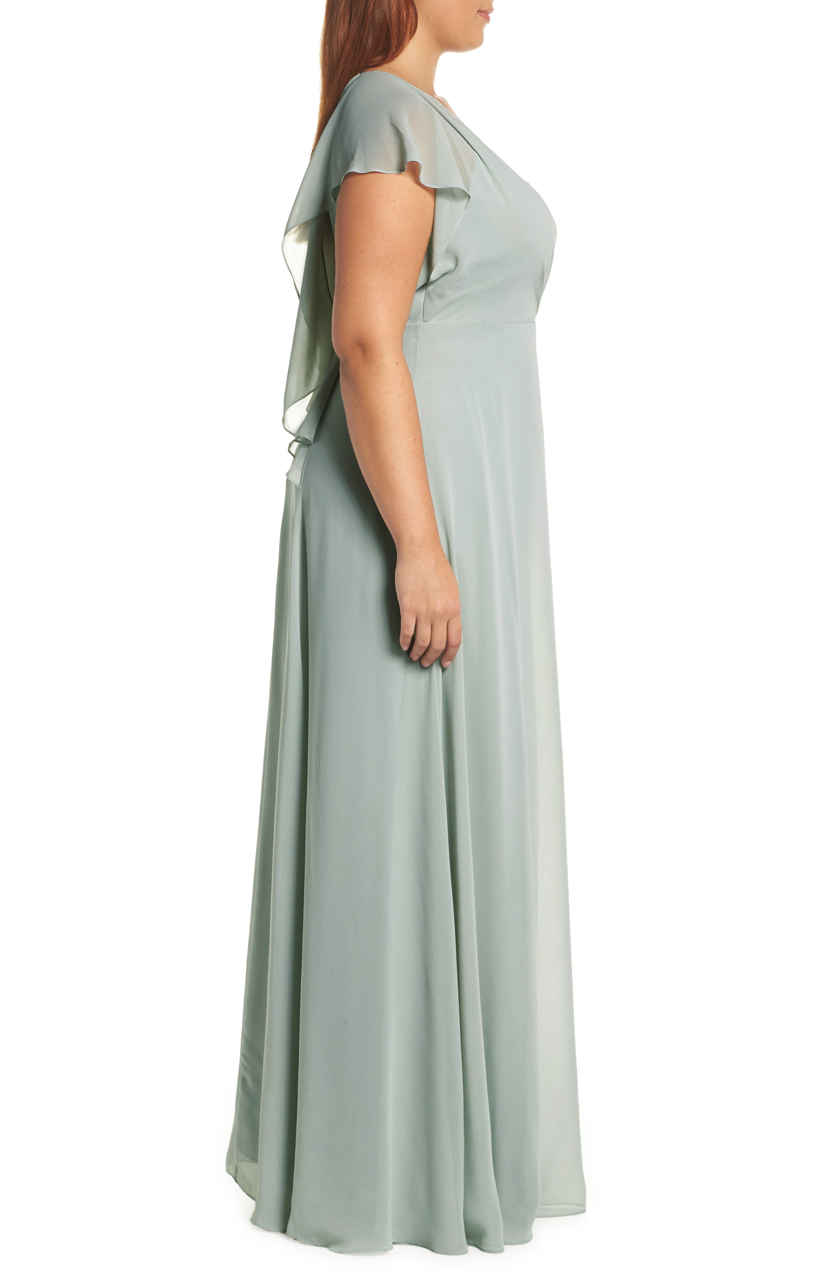 Alanna Open Back Chiffon Gown,                             Alternate thumbnail 6, color,                             MORNING MIST