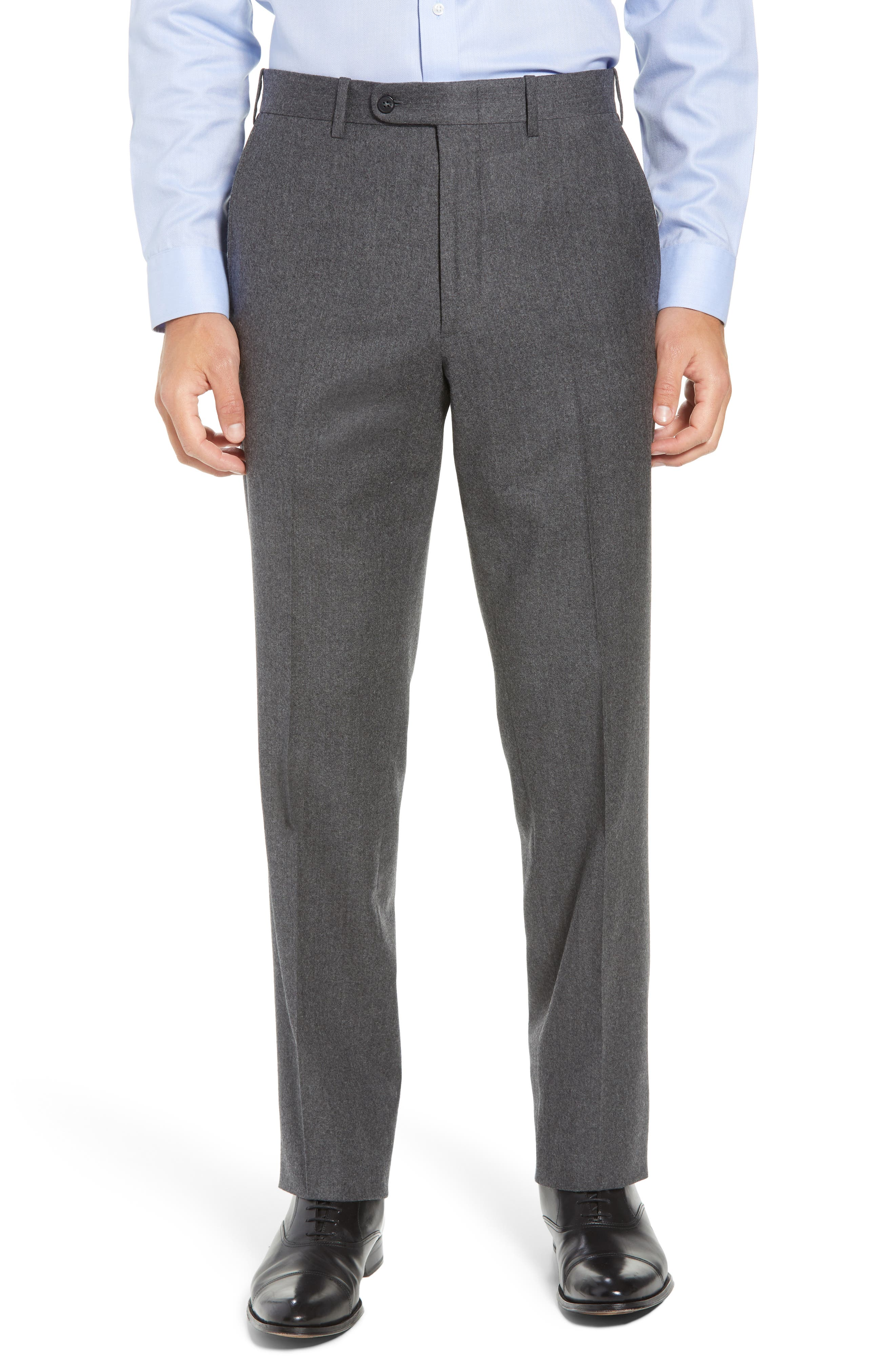 Torino Traditional Fit Flat Front Solid Wool & Cashmere Trousers,                         Main,                         color, MID GREY