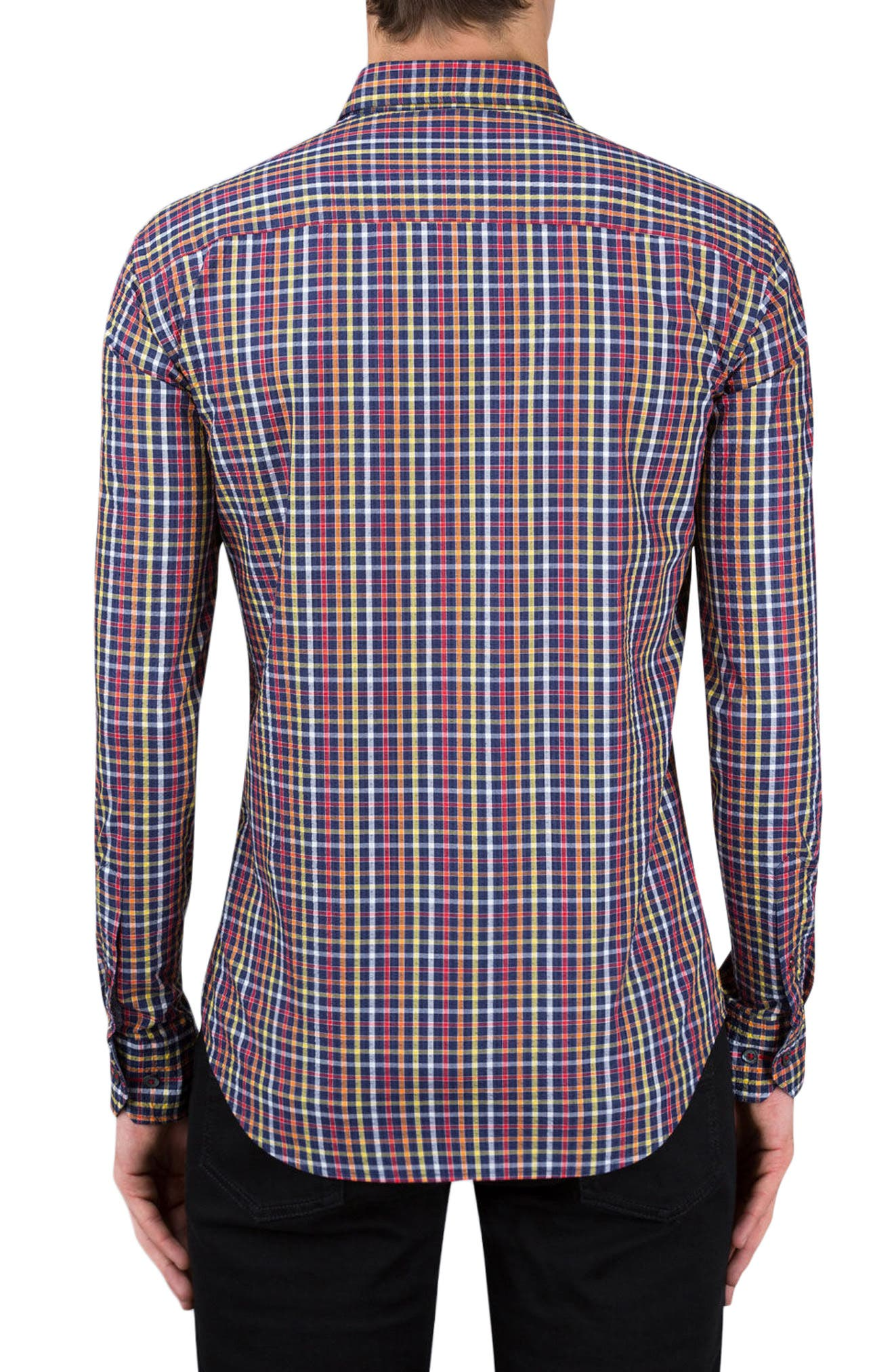 Shaped Fit Check Sport Shirt,                             Alternate thumbnail 2, color,                             411
