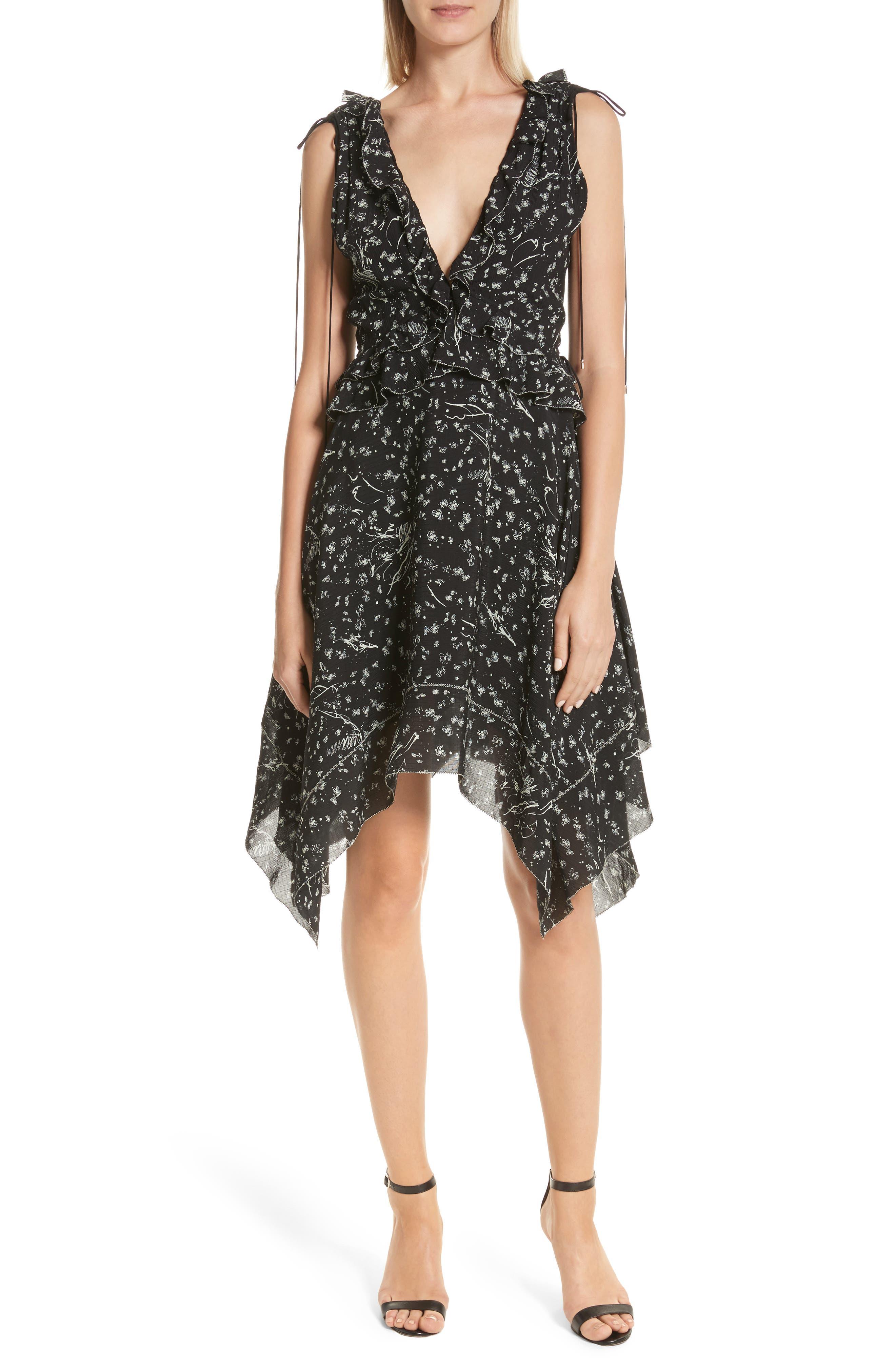 Ruffle Trim Handkerchief Hem Silk Dress,                         Main,                         color, 001