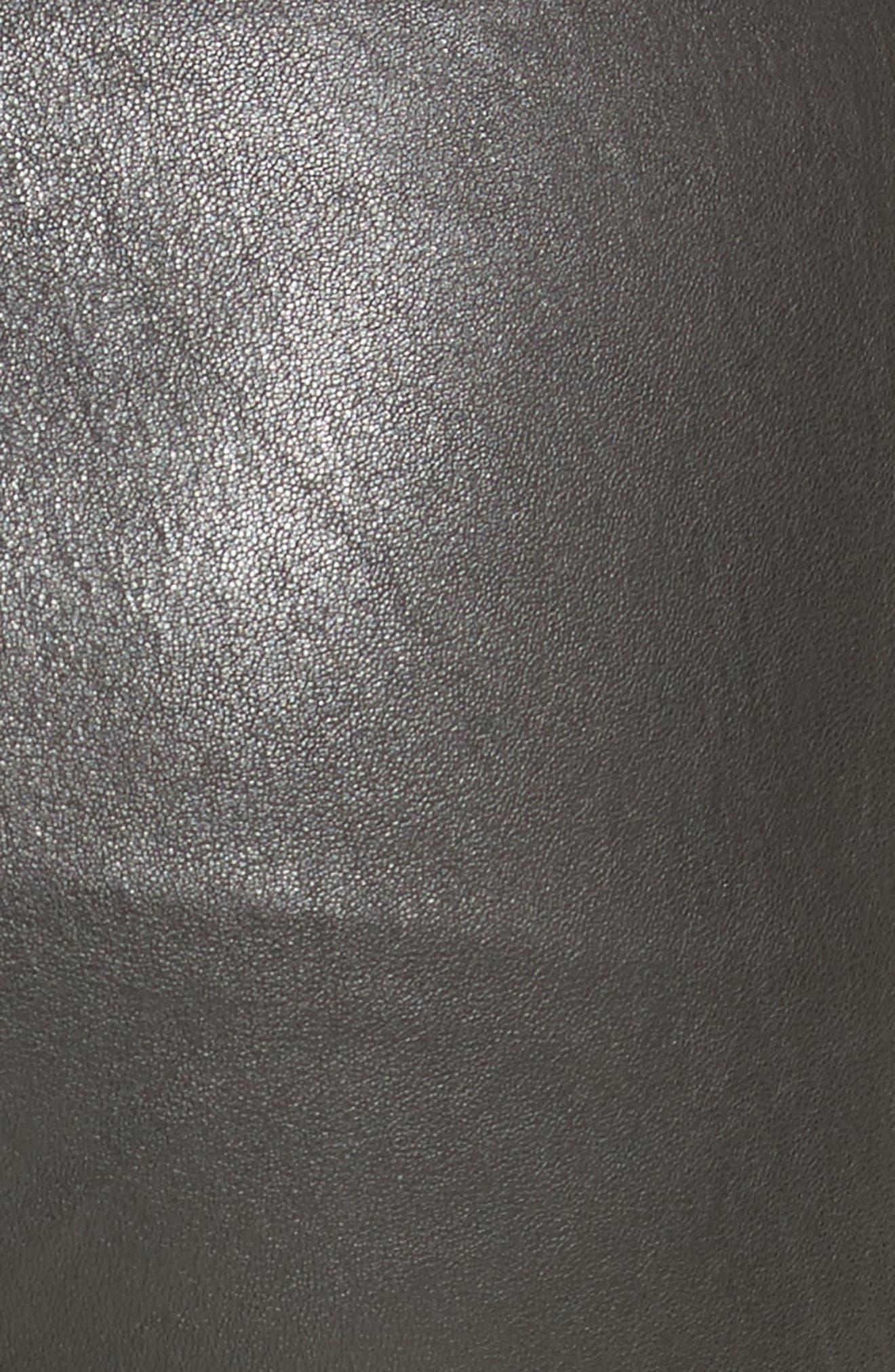 Slit Hem Crop Leather Pants,                             Alternate thumbnail 5, color,                             001