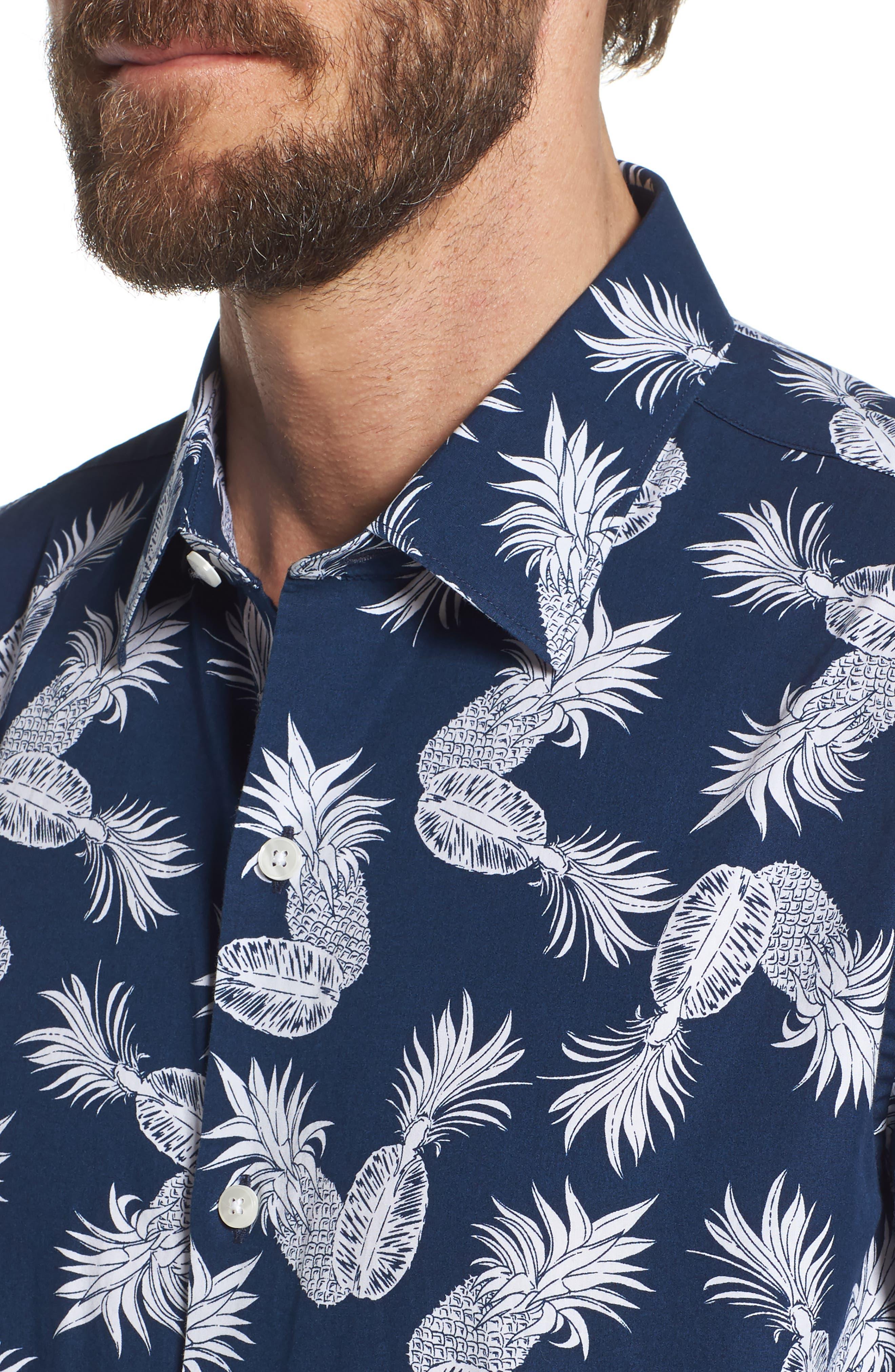 Unbutton Down Slim Fit Print Sport Shirt,                             Alternate thumbnail 4, color,                             400