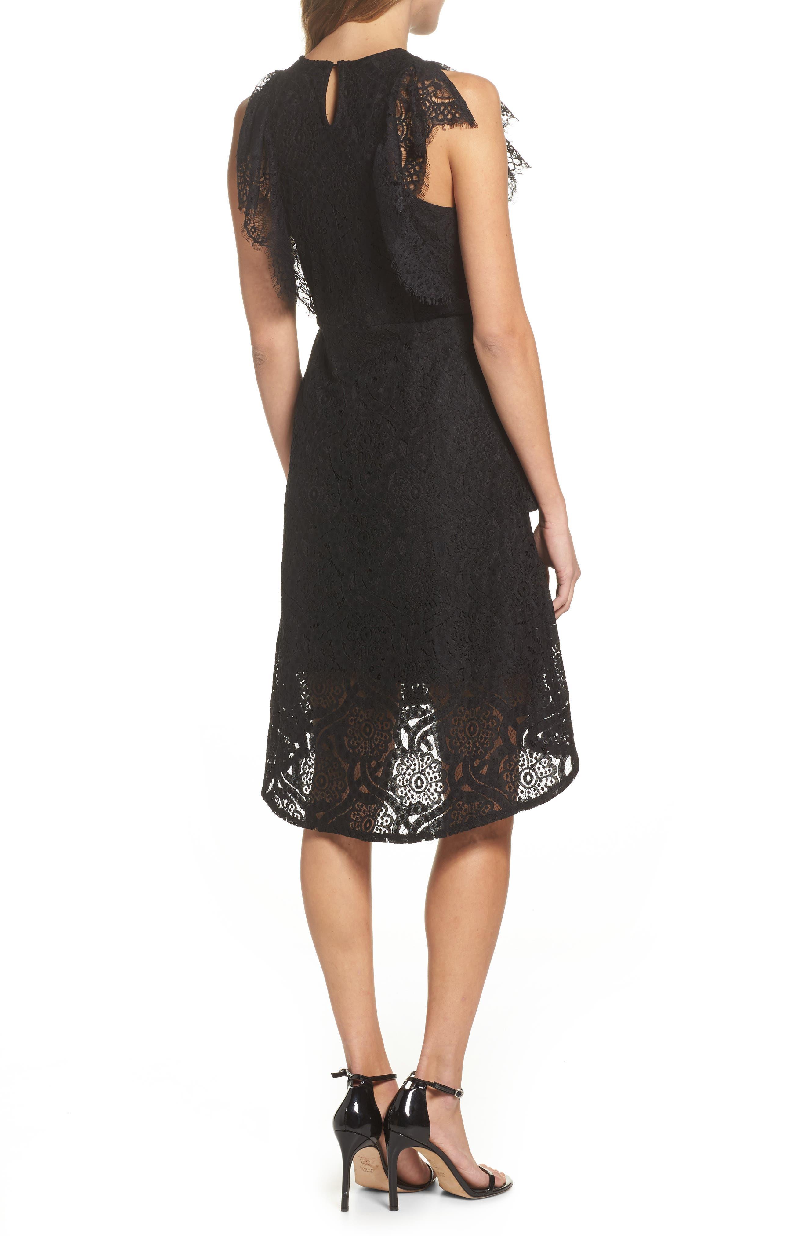 Ruffle Lace High/Low dress,                             Alternate thumbnail 2, color,                             BLACK