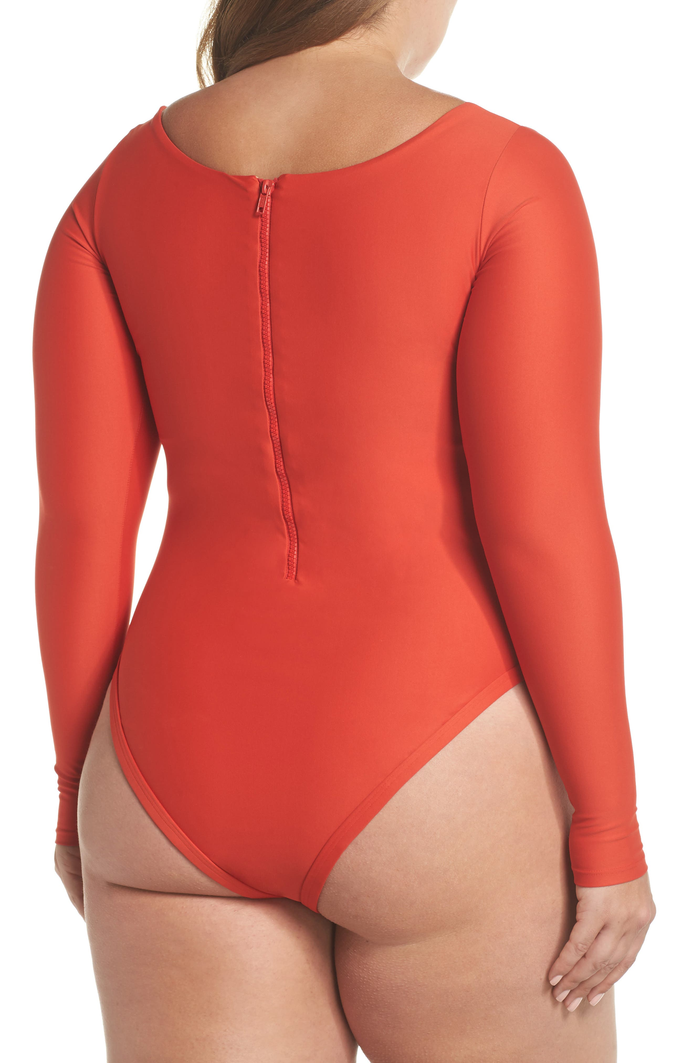 Long Sleeve One-Piece Swimsuit,                             Alternate thumbnail 2, color,                             ROSE RED