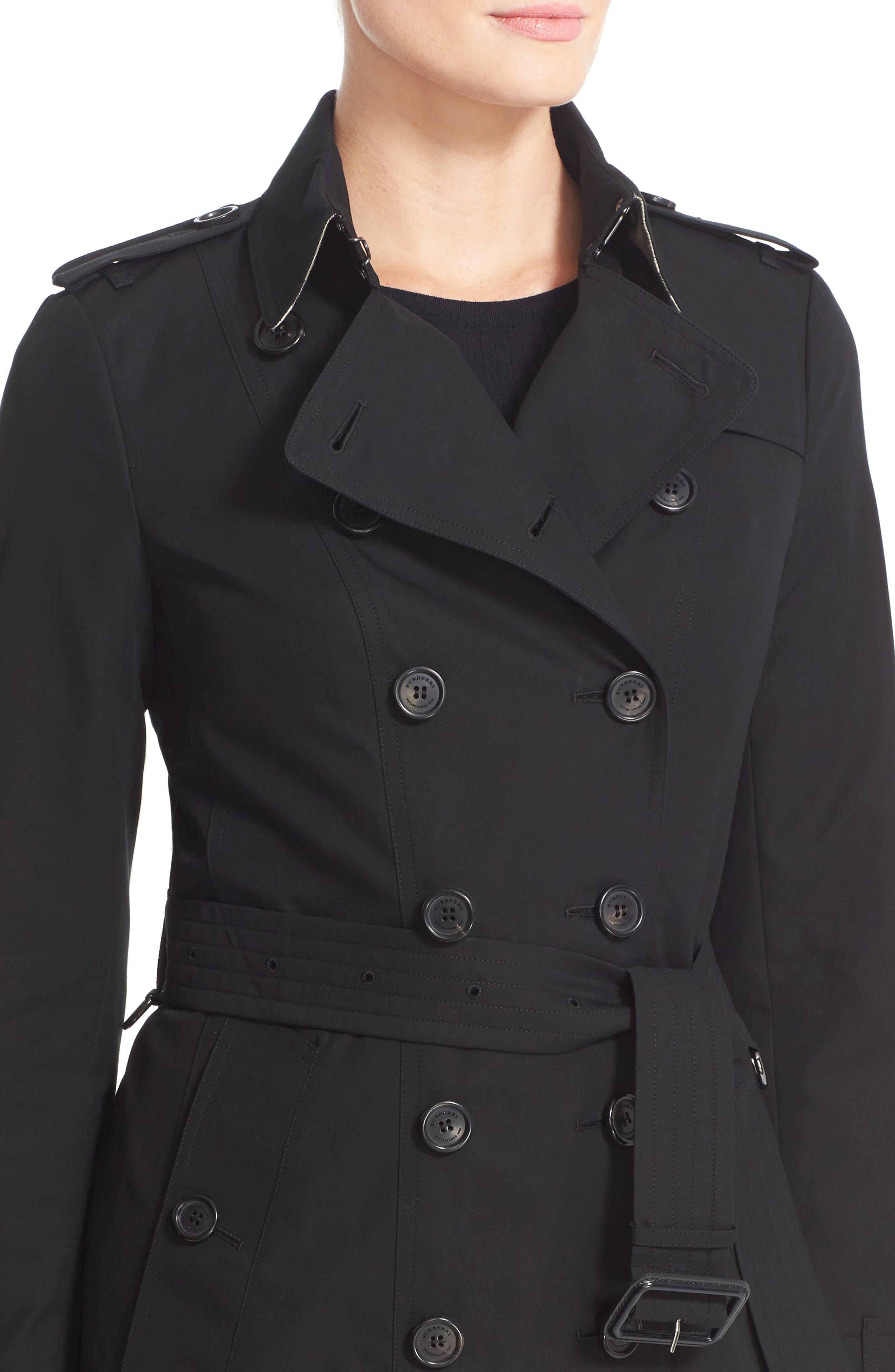 Sandringham Long Slim Trench Coat,                             Alternate thumbnail 4, color,                             BLACK