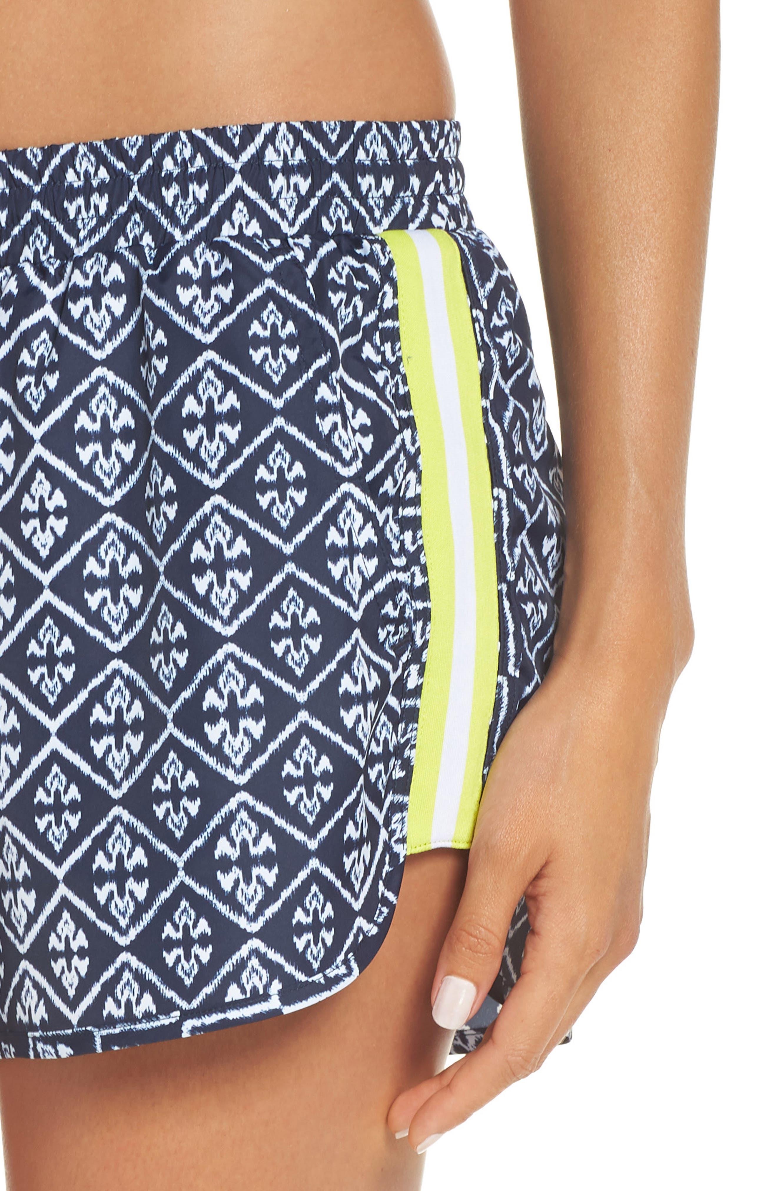 Ikat Neon Running Shorts,                             Alternate thumbnail 4, color,                             INDIGO/ WHITE