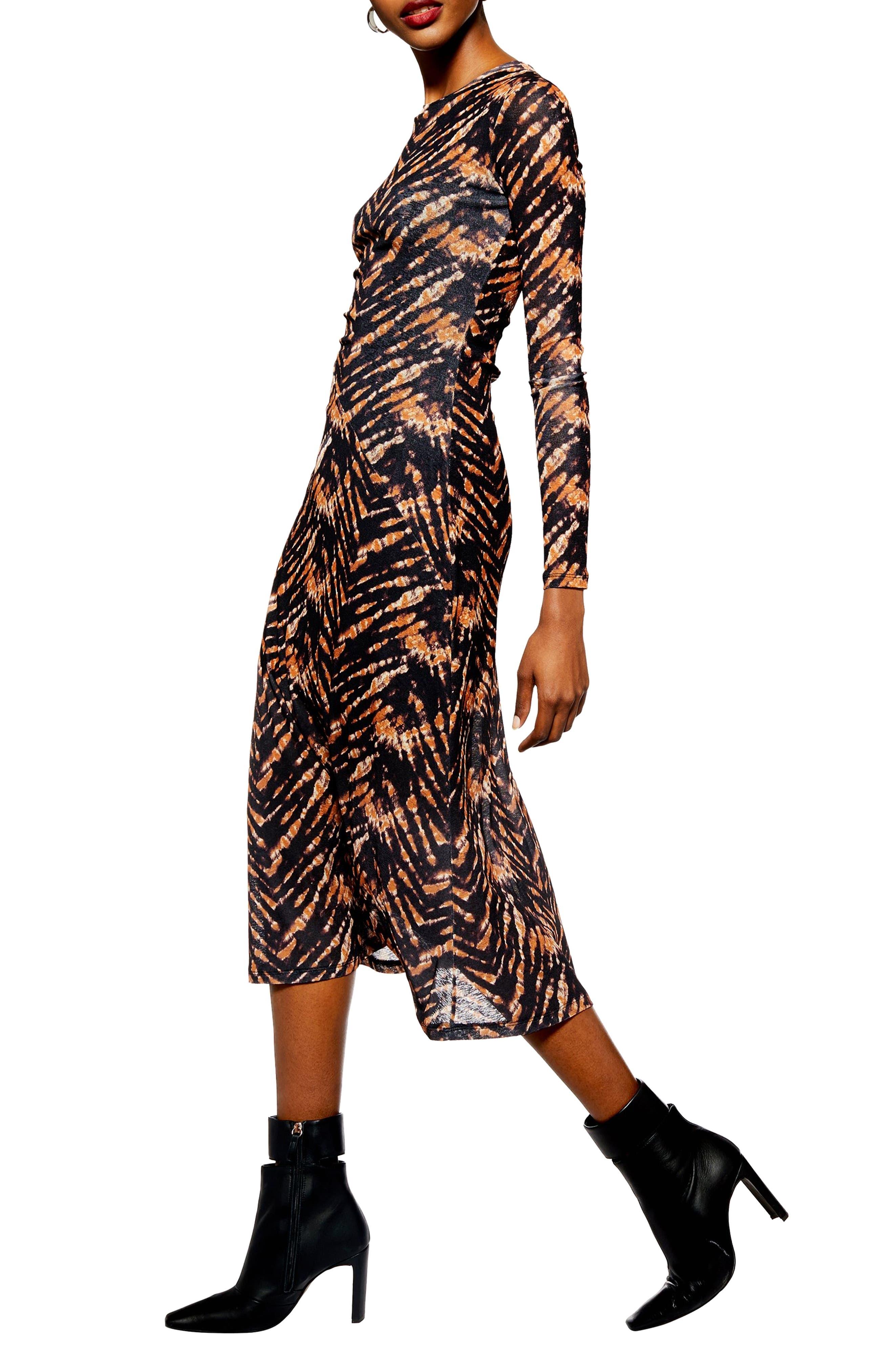 TOPSHOP,                             Tie Dye Mesh Midi Dress,                             Alternate thumbnail 3, color,                             BLACK MULTI