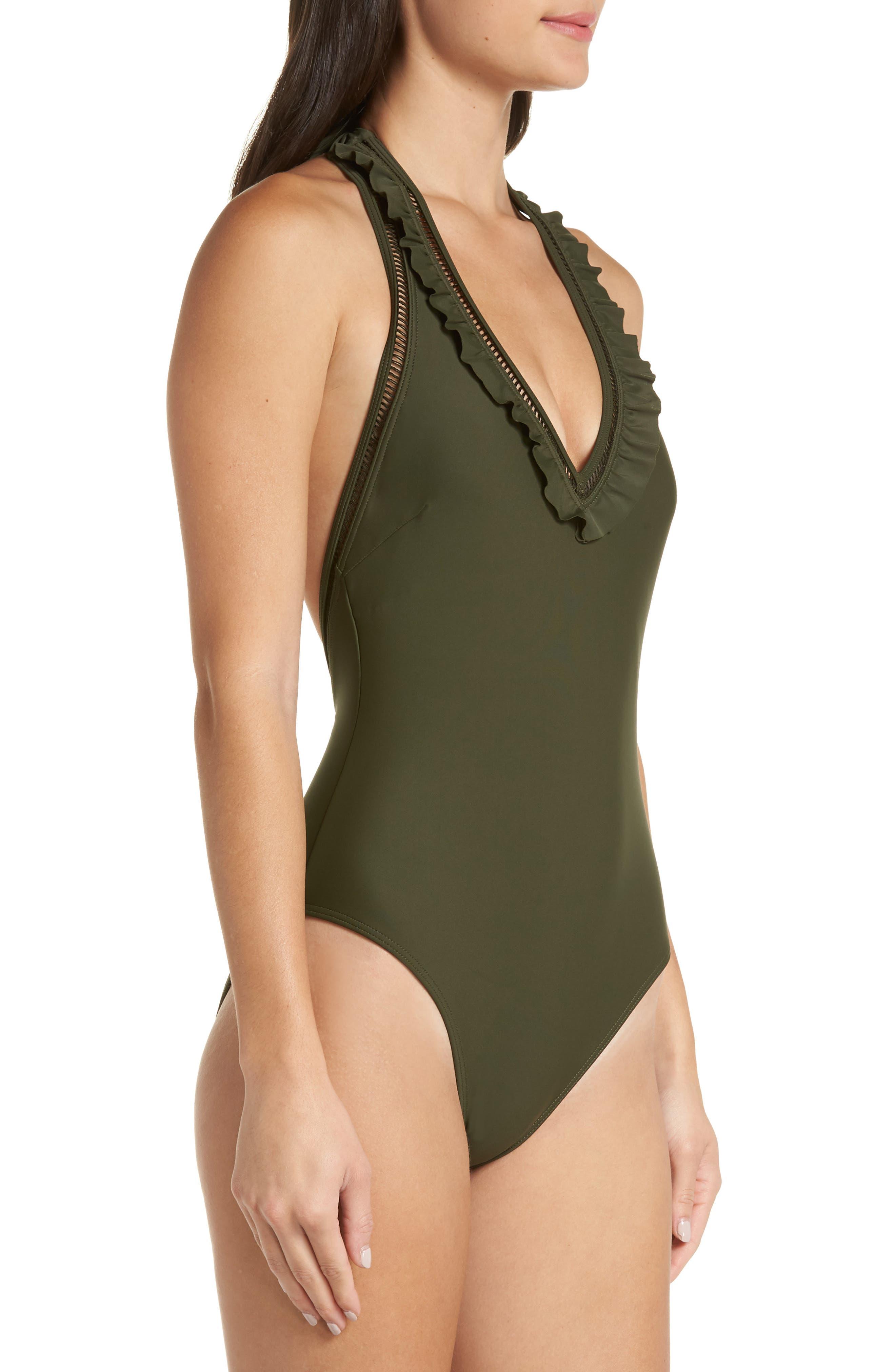 Blanna Deep-V Ruffle One-Piece Swimsuit,                             Alternate thumbnail 3, color,                             DARK GREEN