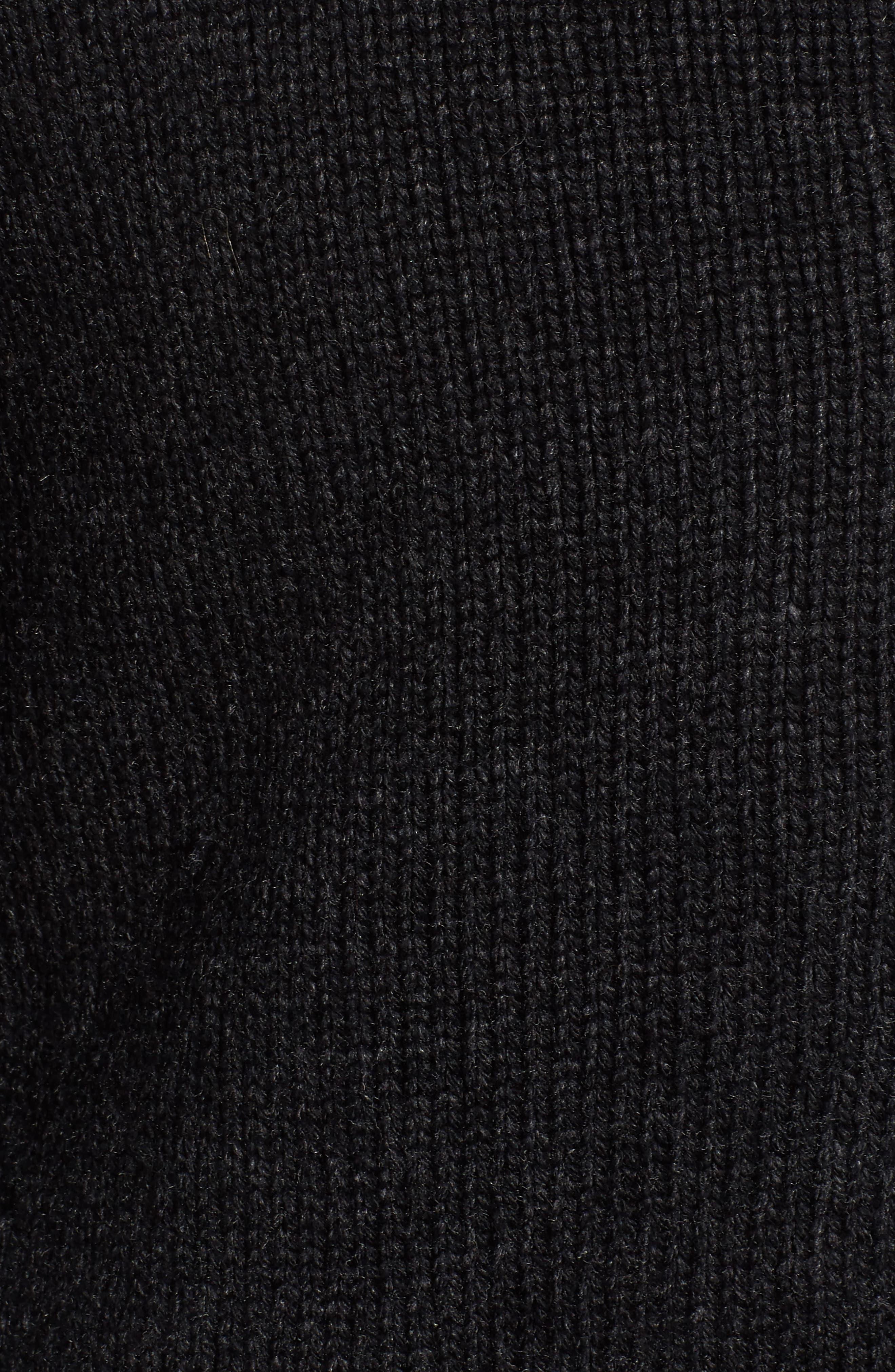 SCHOTT NYC,                             Lined Wool Zip Sweater,                             Alternate thumbnail 5, color,                             BLACK