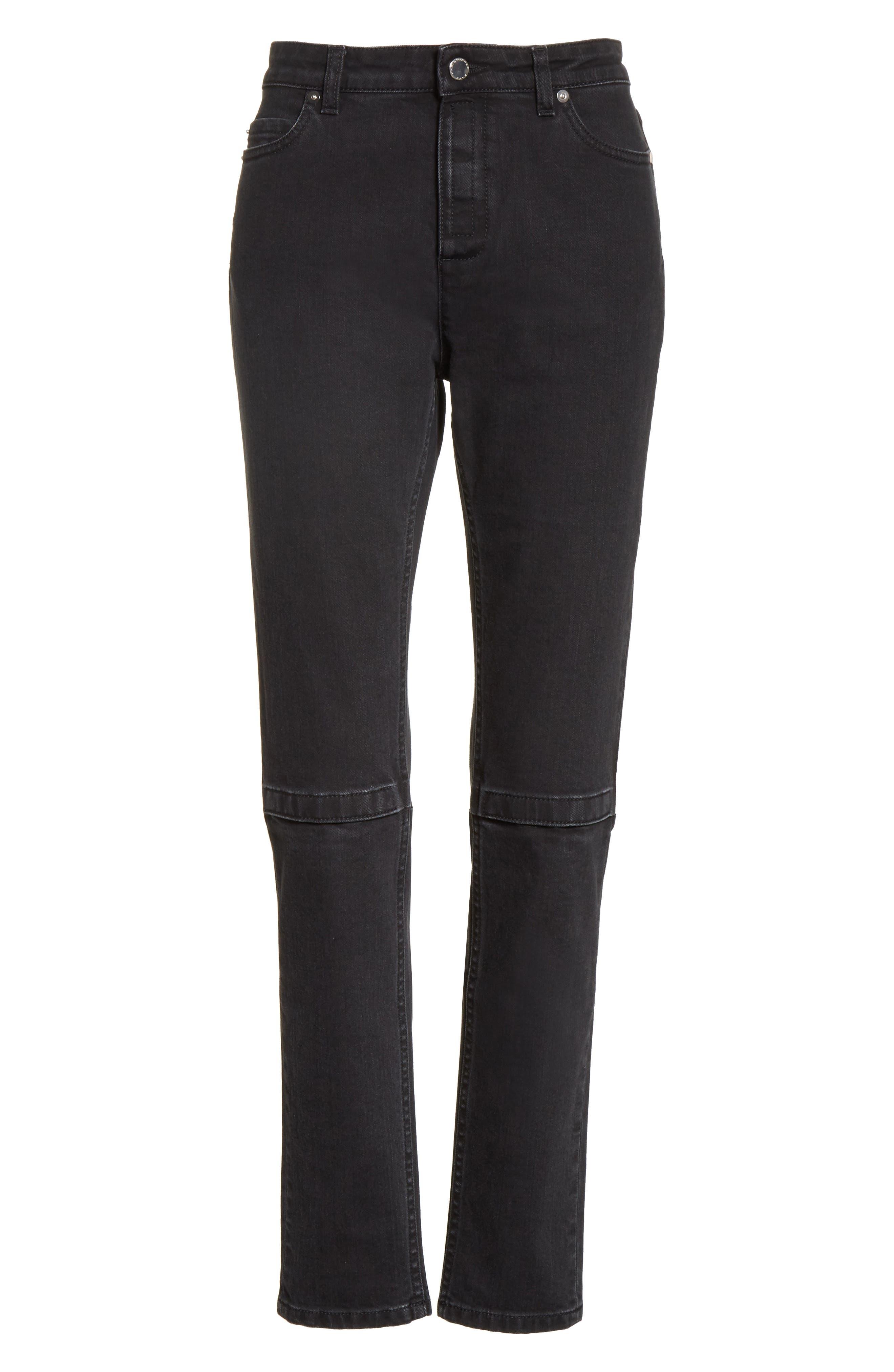 Hook & Loop Fly Skinny Jeans,                             Alternate thumbnail 6, color,                             001
