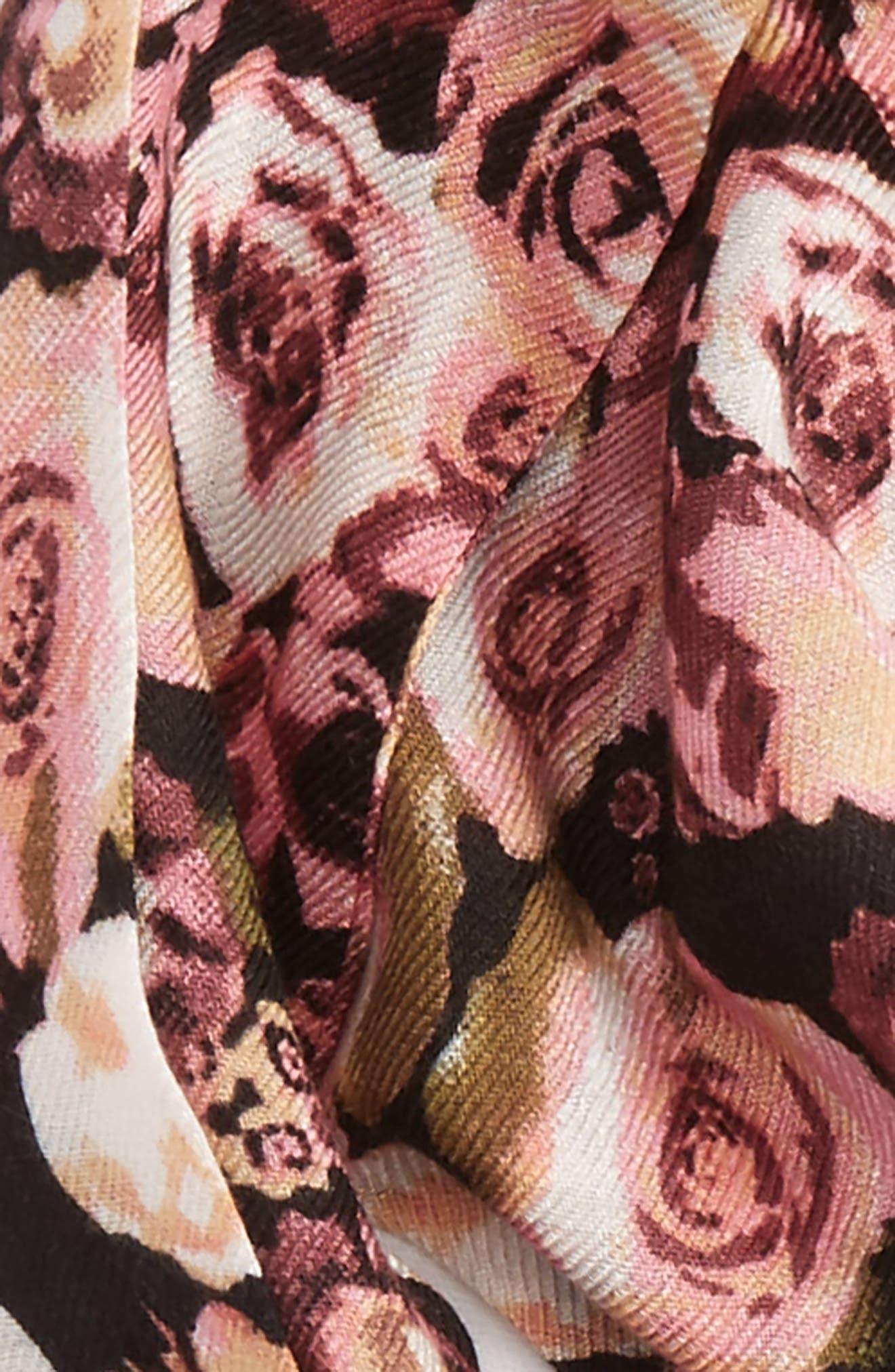 Floral Print Skinny Scarf,                             Alternate thumbnail 3, color,                             001
