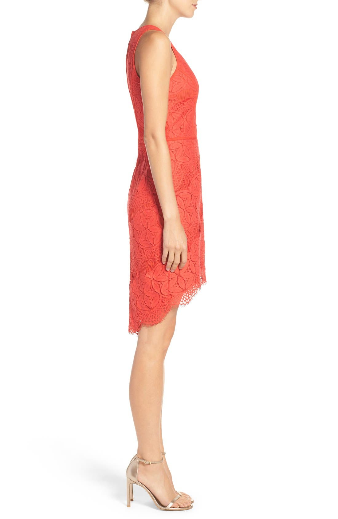 Lace High/Low Sheath Dress,                             Alternate thumbnail 32, color,