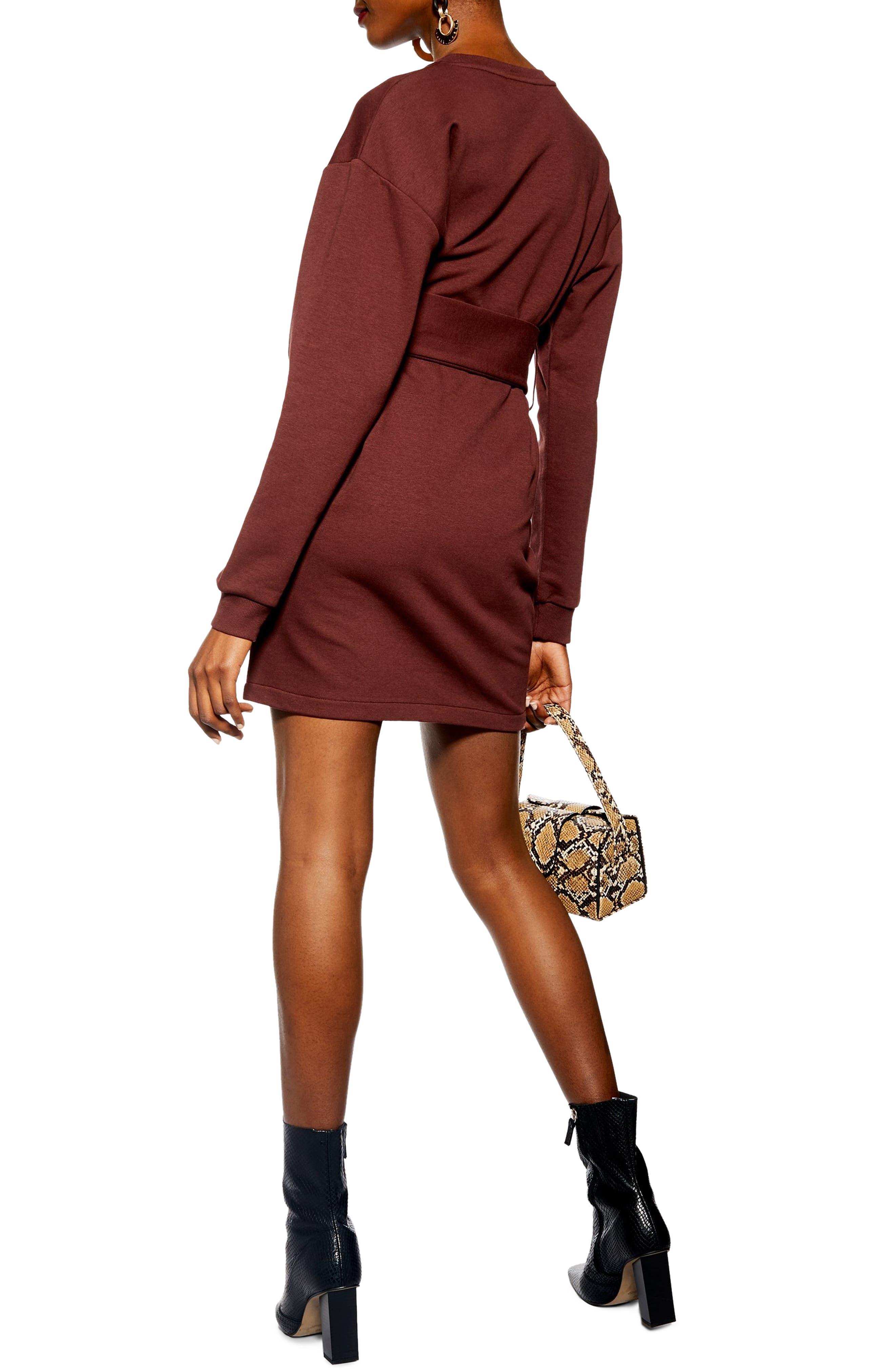 Belted Sweater Dress,                             Alternate thumbnail 2, color,                             DARK BROWN