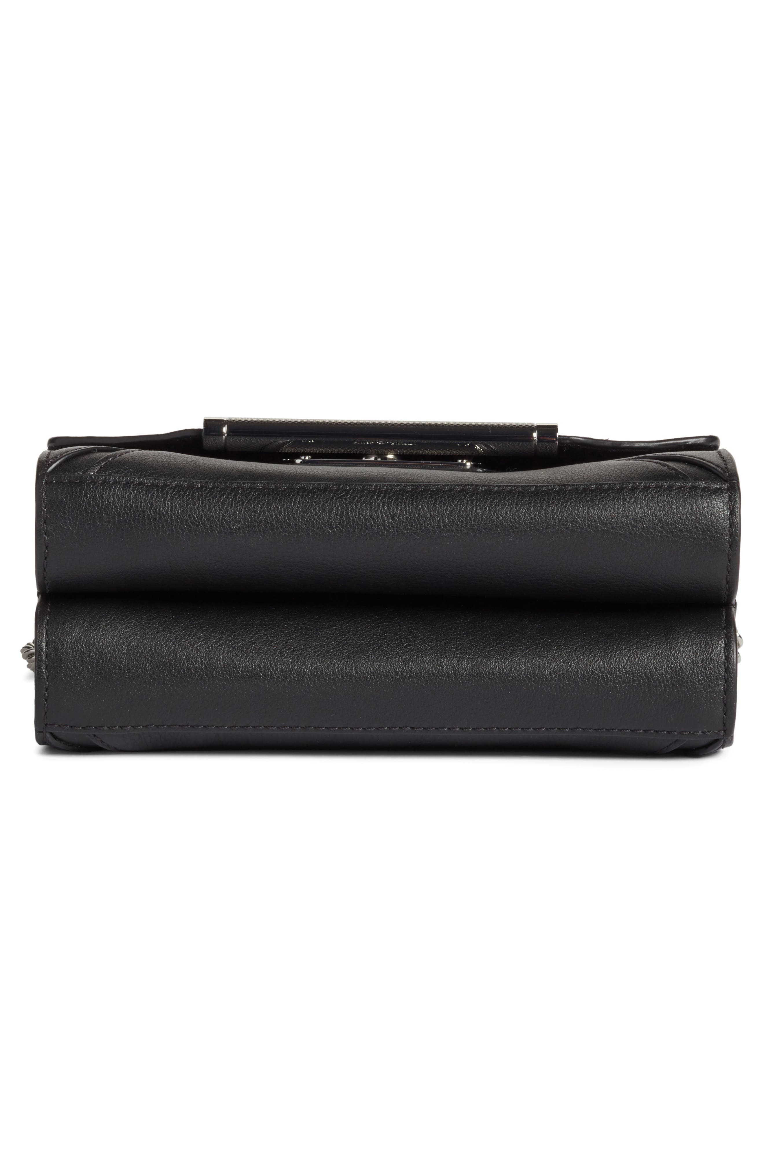 Moto Leather Crossbody Bag,                             Alternate thumbnail 5, color,                             001