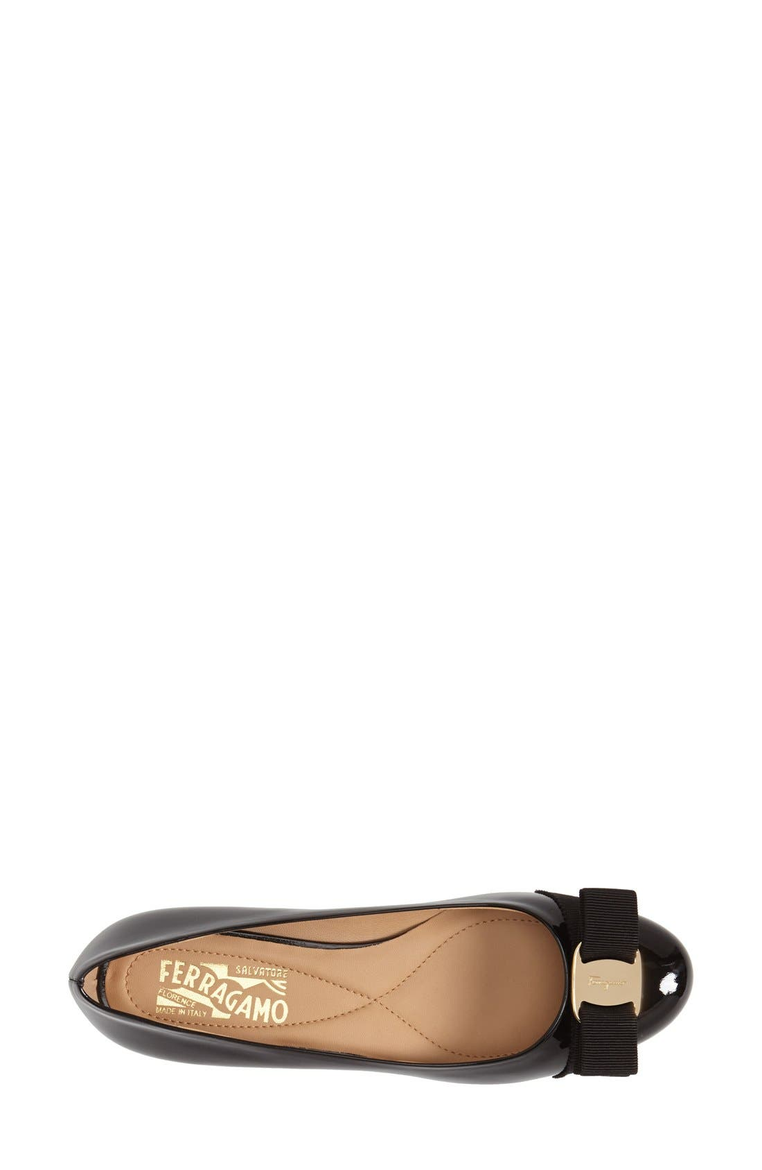SALVATORE FERRAGAMO,                             Varina Leather Flat,                             Alternate thumbnail 2, color,                             NERO PATENT/ GOLD