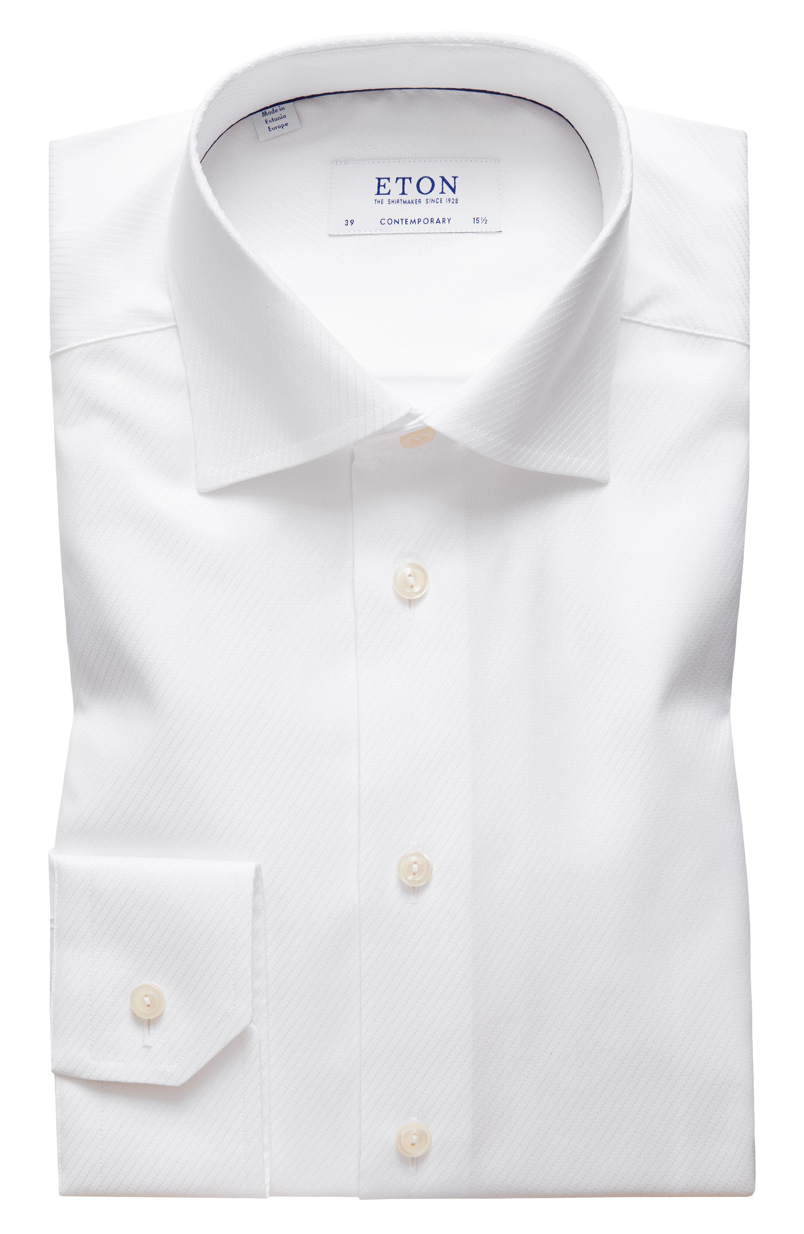 Contemporary Fit Solid Dress Shirt,                         Main,                         color, WHITE