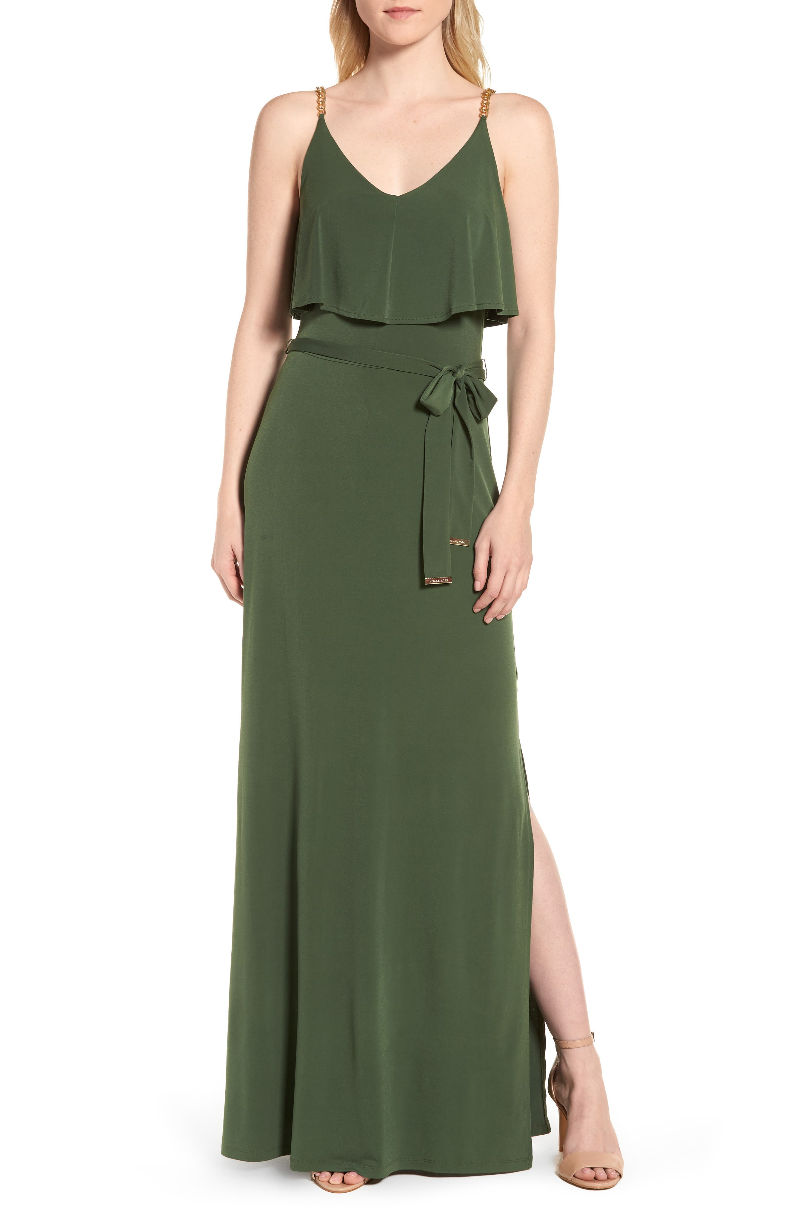 Chain Strap Popover Maxi Dress,                             Main thumbnail 1, color,