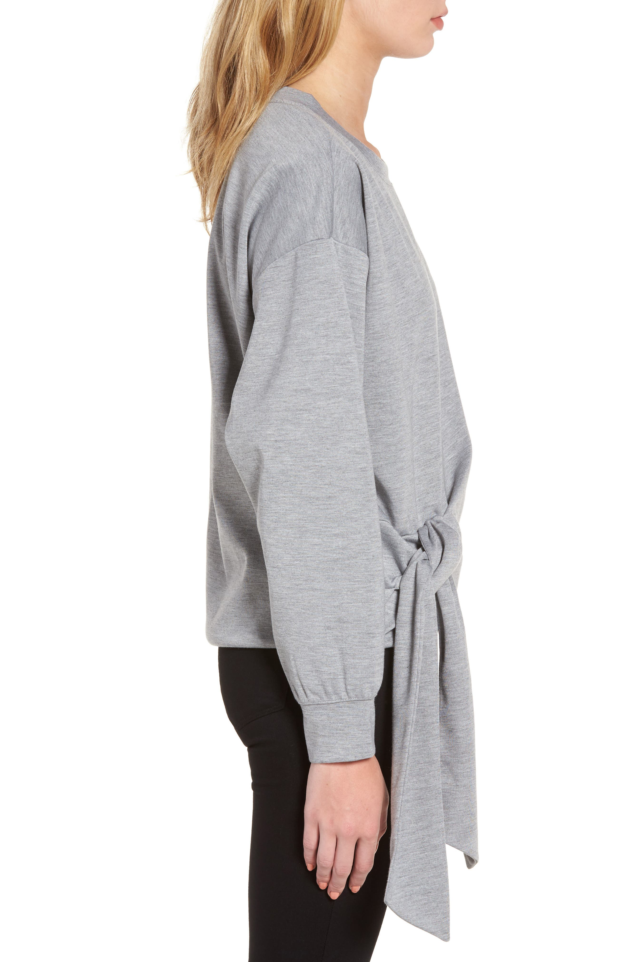 Tie Front Sweatshirt,                             Alternate thumbnail 3, color,                             030