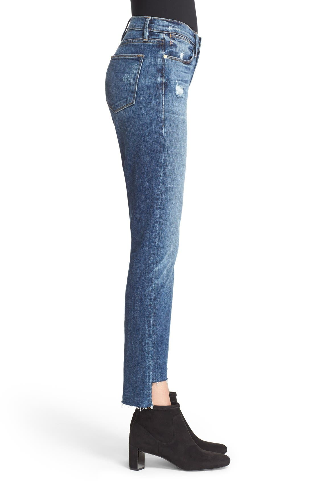 'Le High Straight' High Rise Staggered Hem Jeans,                             Alternate thumbnail 6, color,                             401